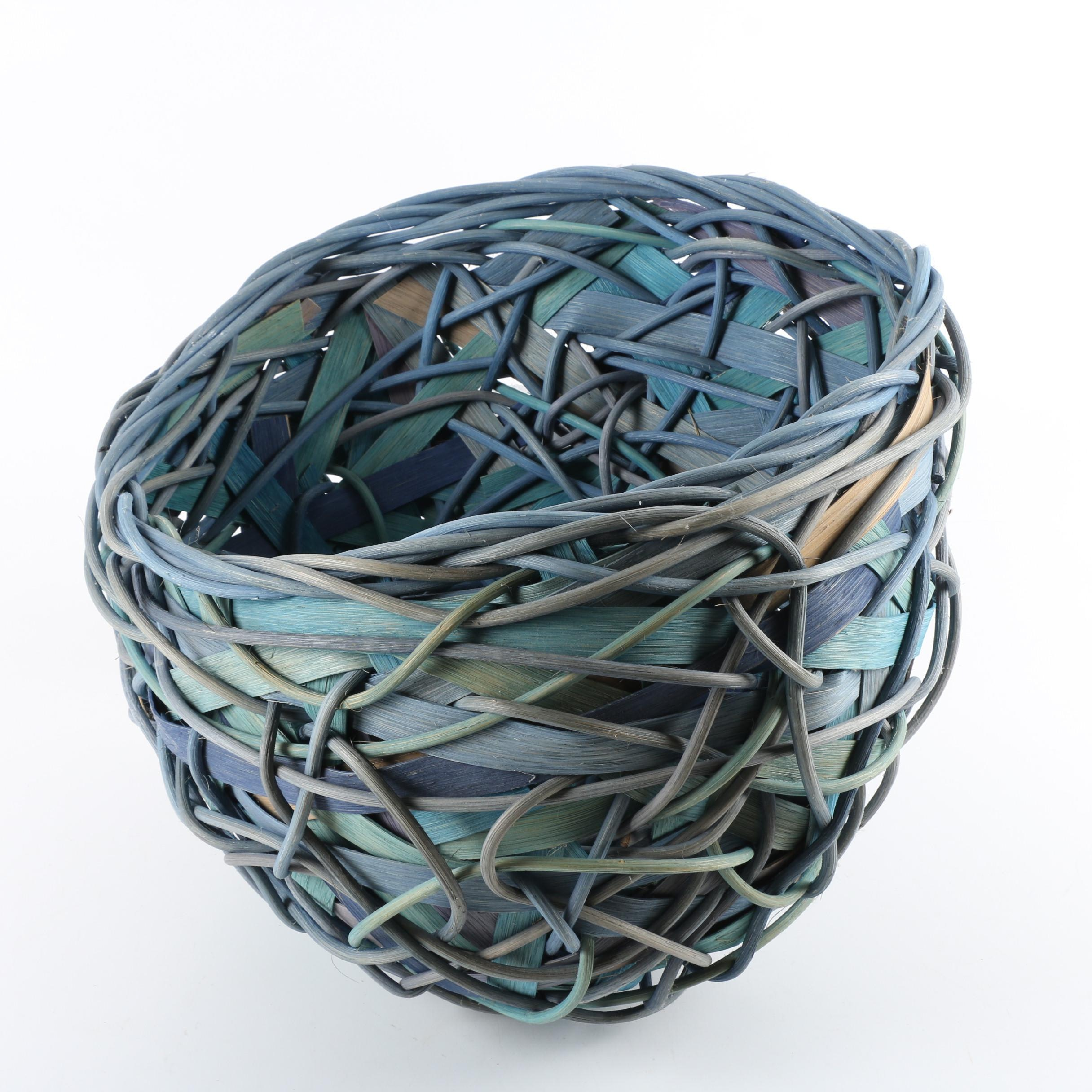 Dyed Woven Round Bird's Nest Form Basket