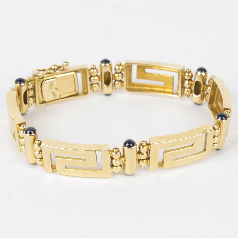 18K Yellow Gold Greek Key Link Sapphire Bracelet