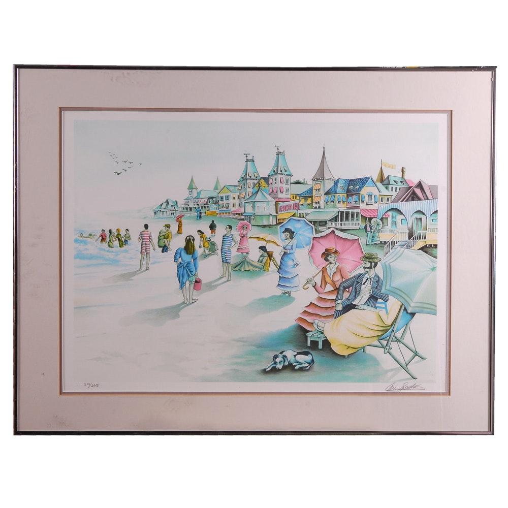 Ari Gradus Color Lithograph of Victorian Beach Scene
