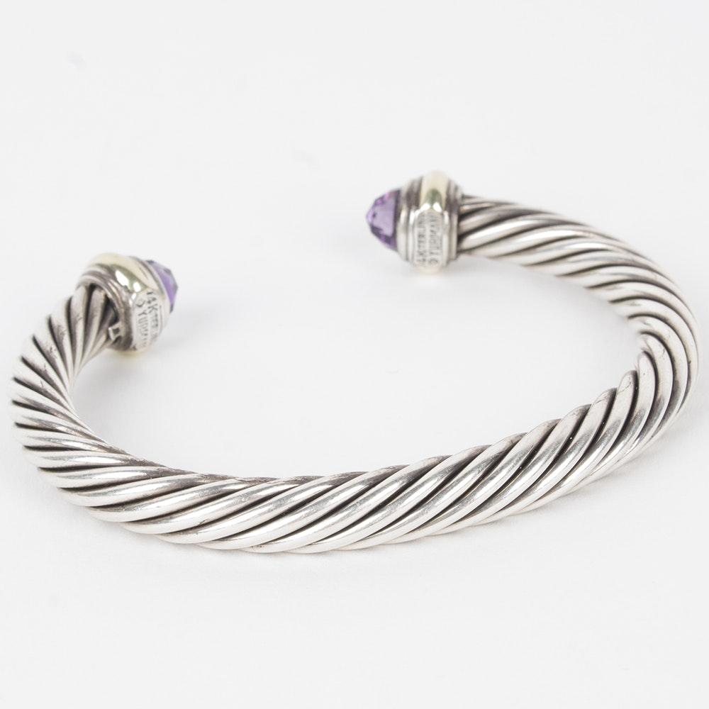 David Yurman Sterling Silver and Amethyst Classic Cable Bracelet