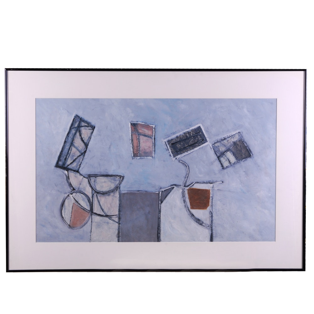 Contemporary Mixed Media Painting of Abstract Composition