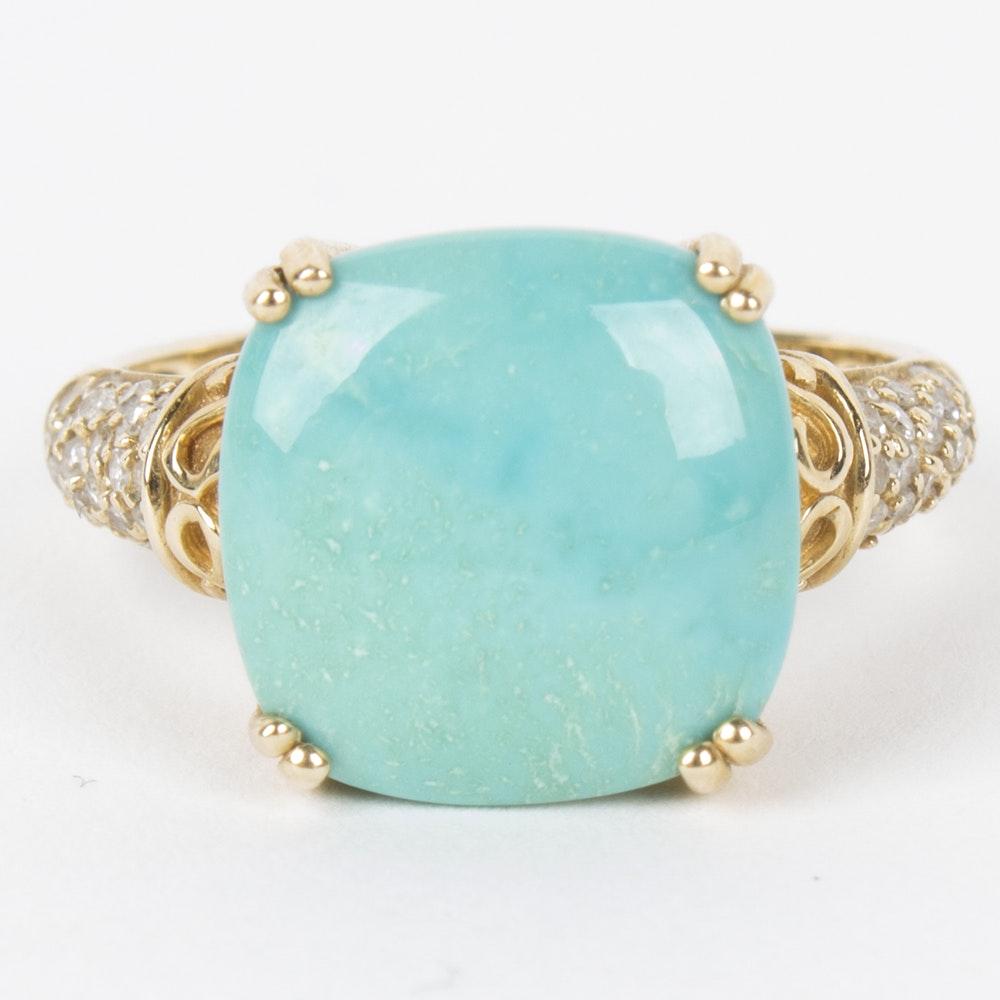 Effy 14K Yellow Gold Turquoise and Diamond Ring