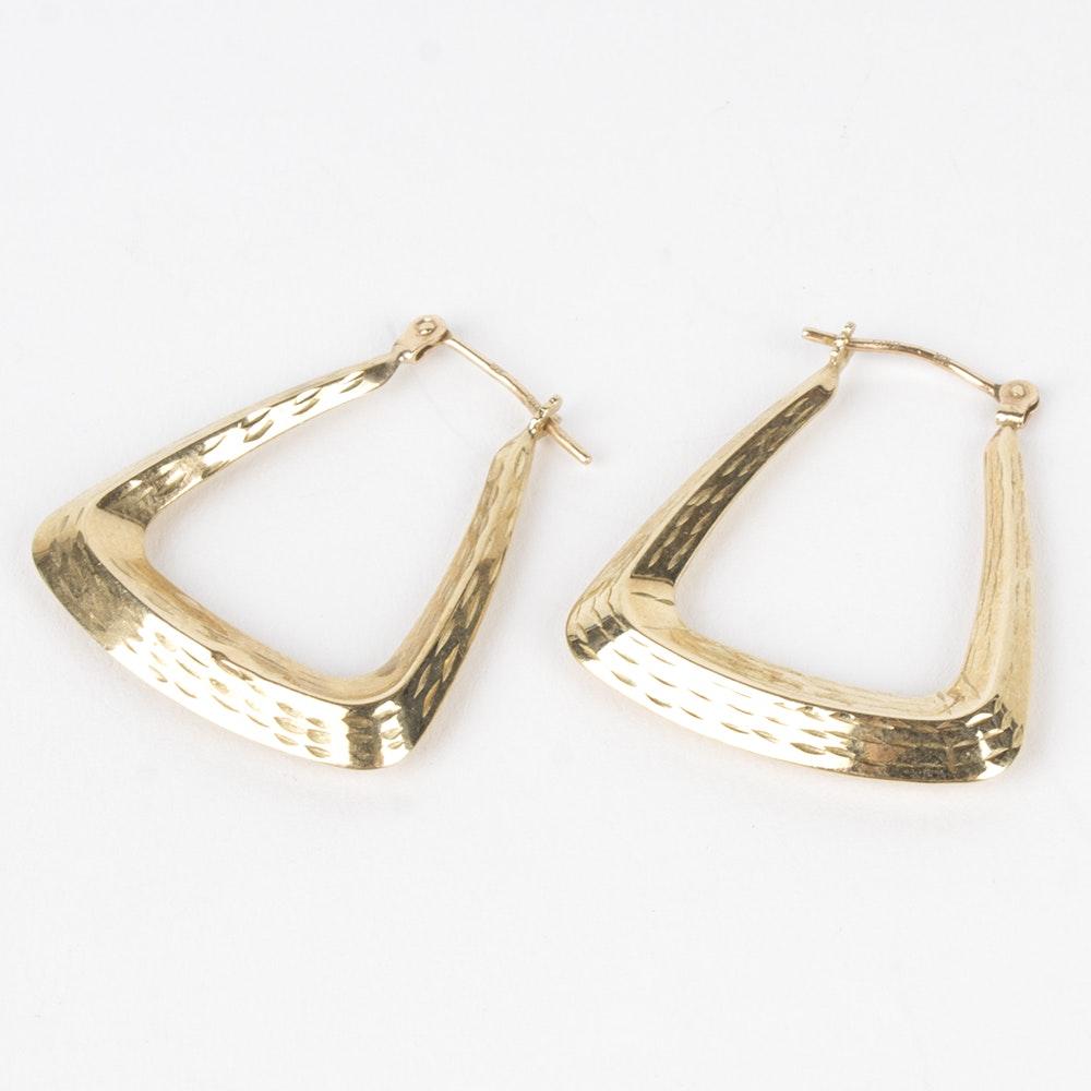 10K Yellow Gold Geometric Hoop Earrings