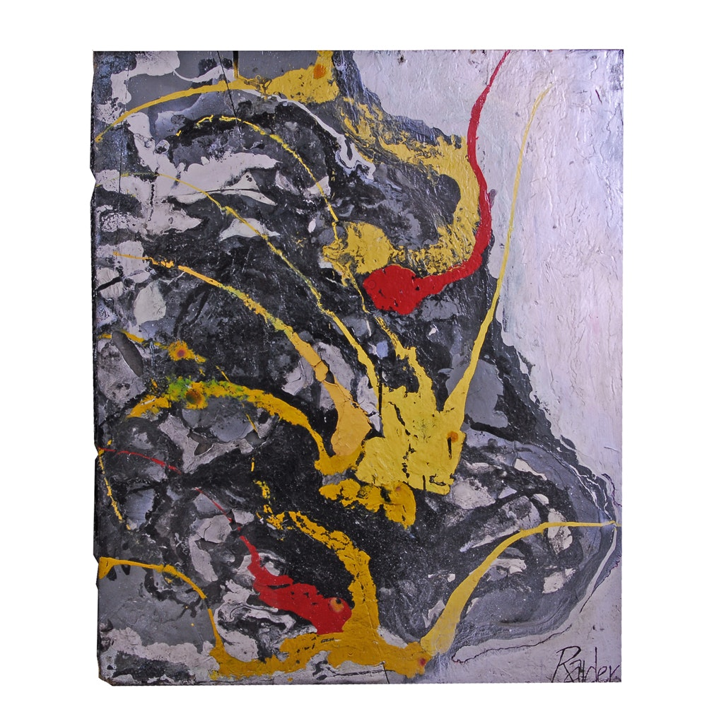 "Jonas Raider Abstract Acrylic on Board Painting ""Rock n Roll vs Wolverine"""