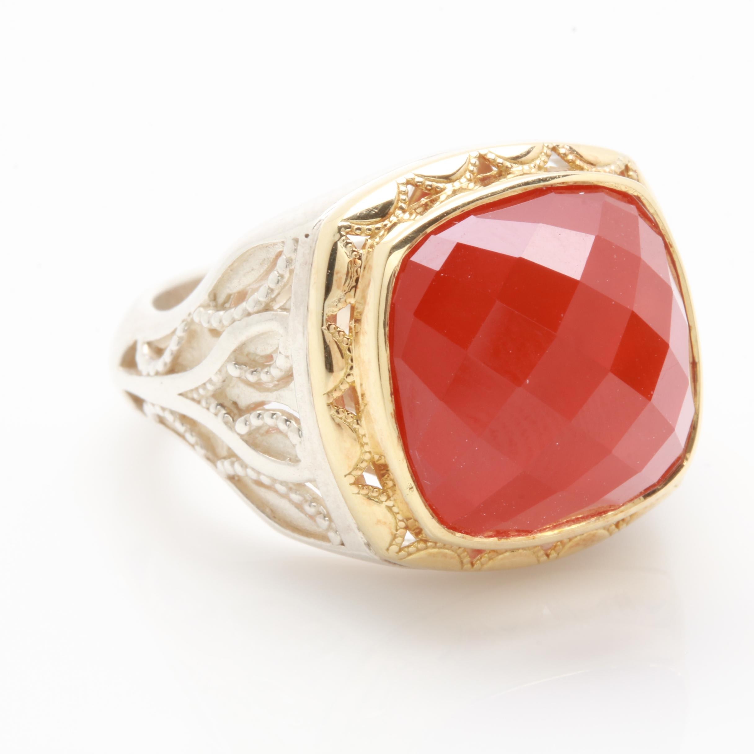 Tacori Sterling Silver Quartz Carnelian Doublet Ring with 18K Accents