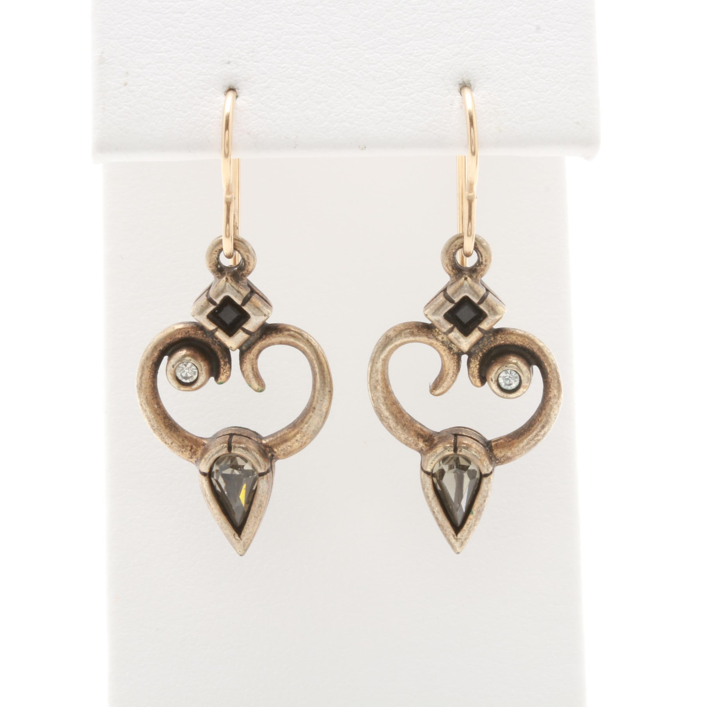 Patricia Locke Glass Earrings with 10K Yellow Gold Accents