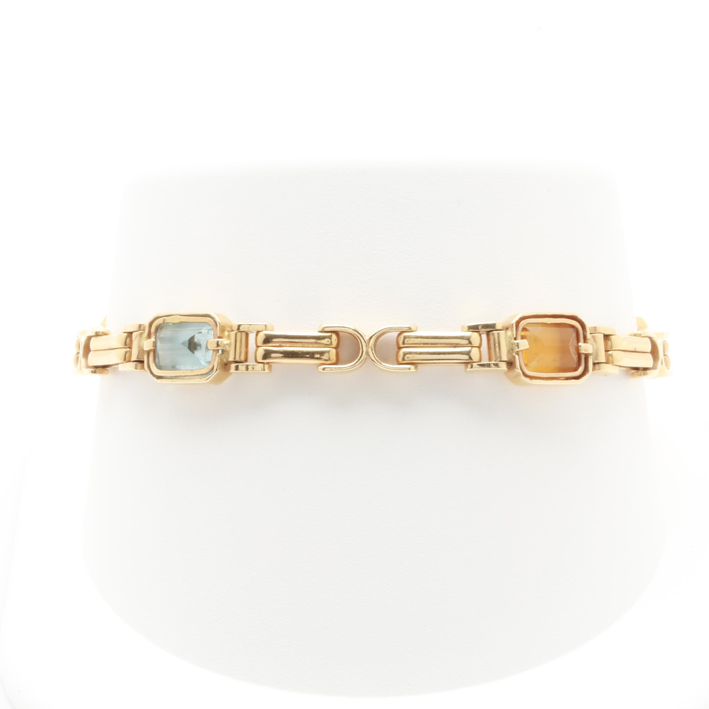 14K Yellow Gold Amethyst, Citrine, and Blue Topaz Link Bracelet