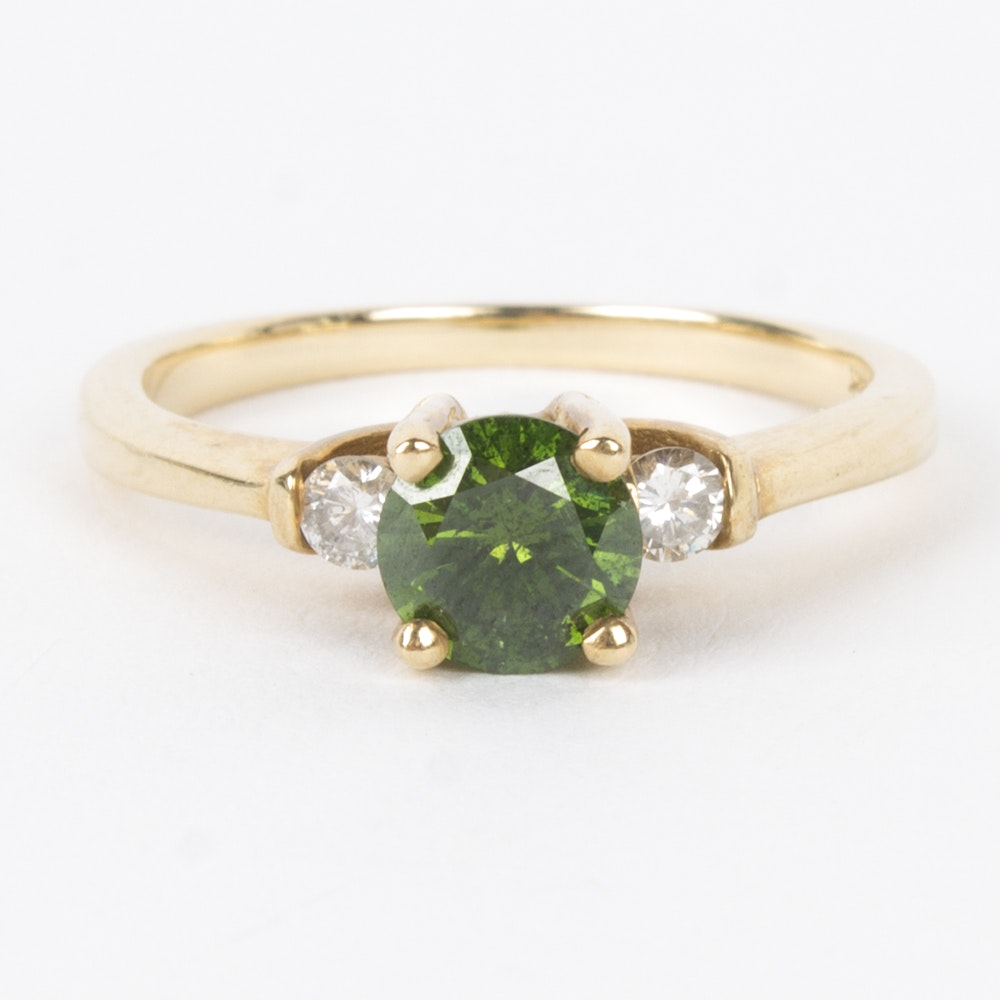 14K Yellow Gold Green and White Diamond Ring