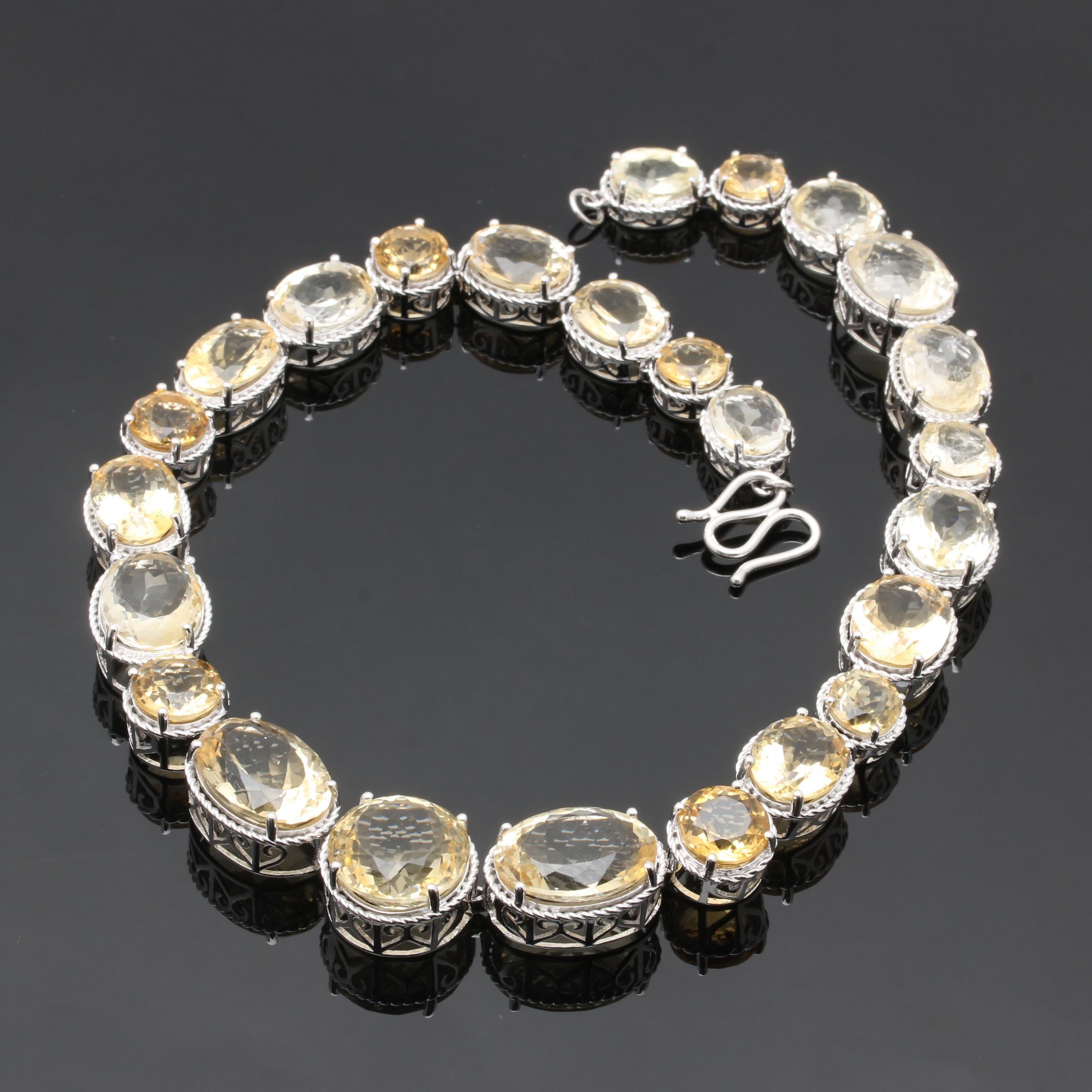 Sterling Silver Quartz Citrine Link Necklace