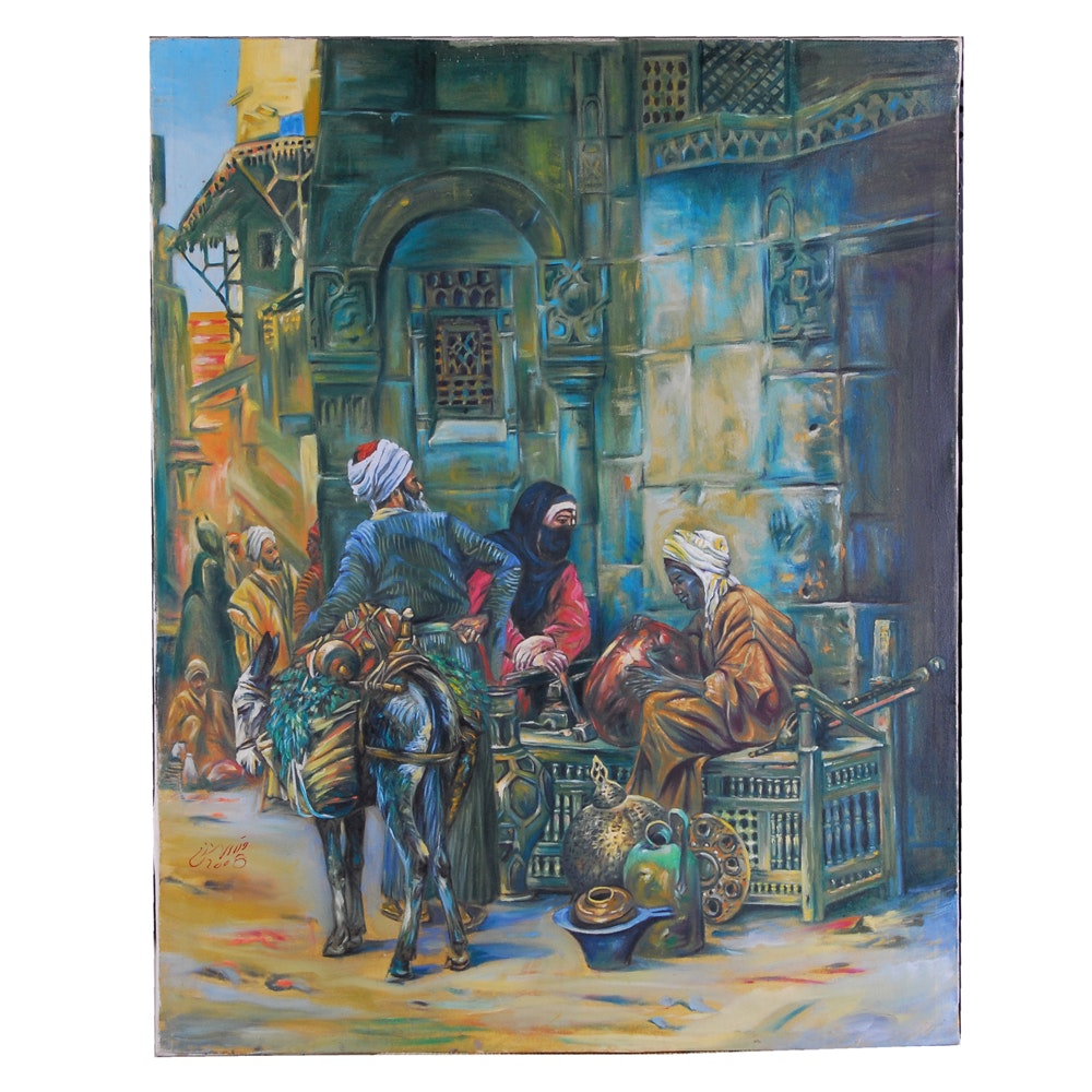 2008 Oil Painting of Indo-Persian Town Scene