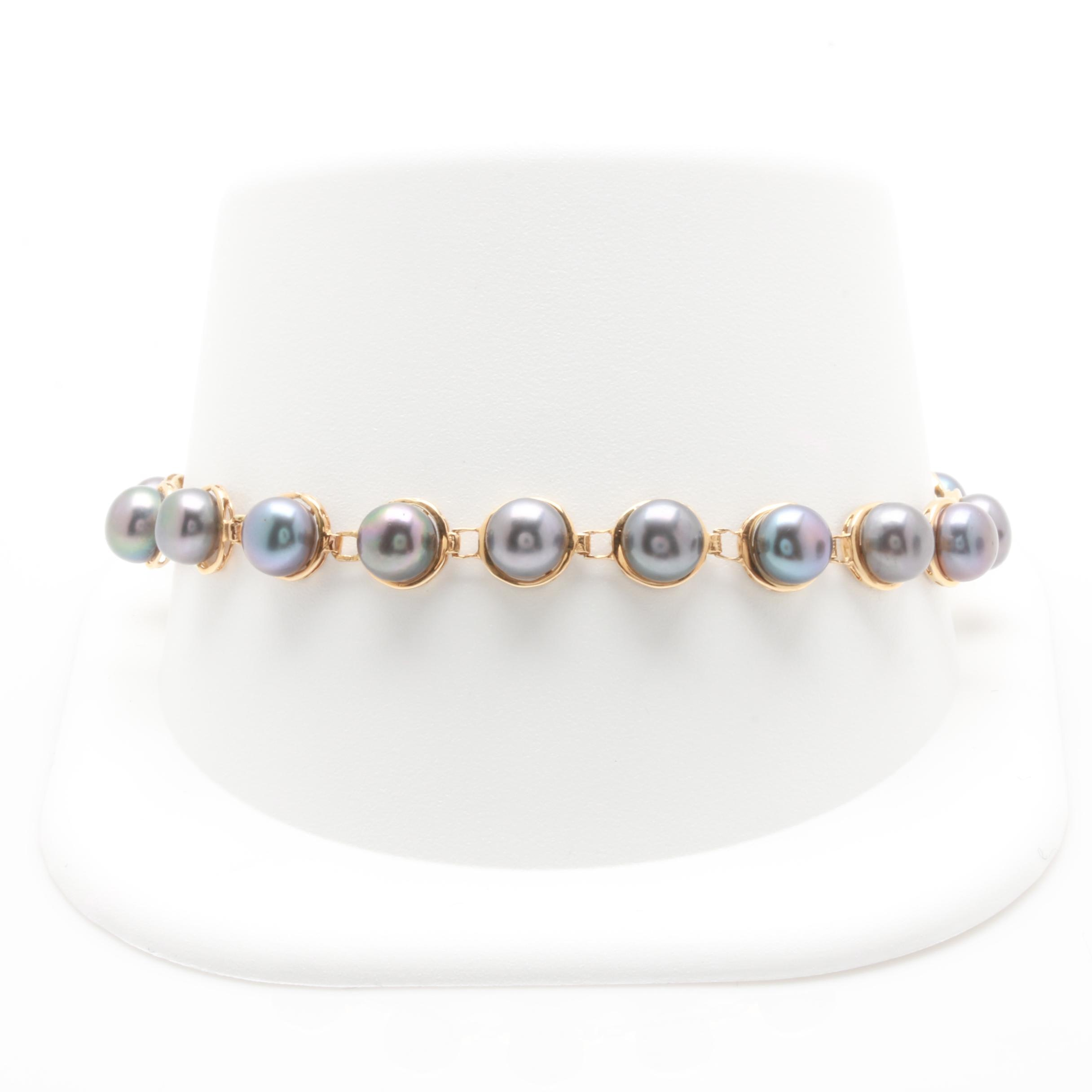 14K Yellow Gold Cultured Pearl Link Bracelet