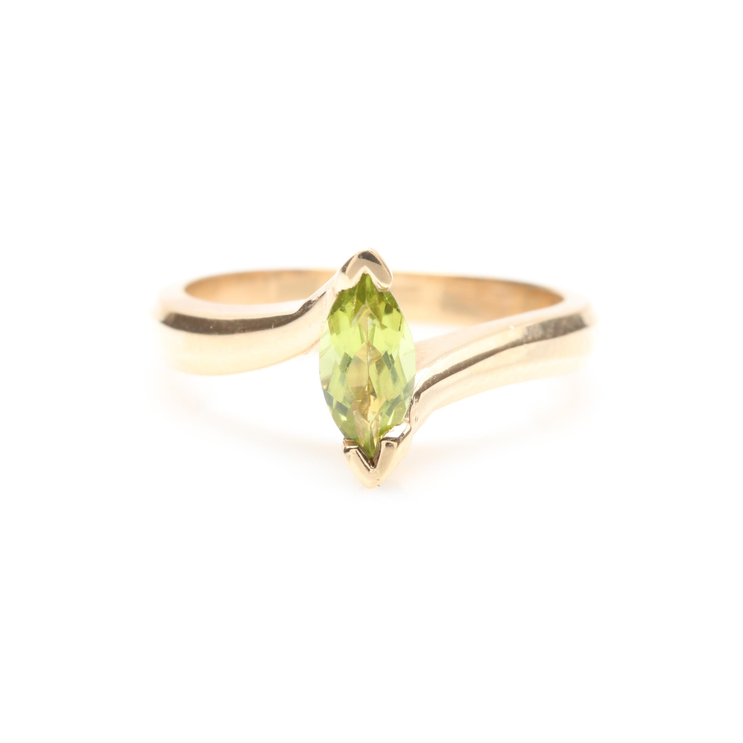 14K Yellow Gold Peridot Solitaire Bypass Ring