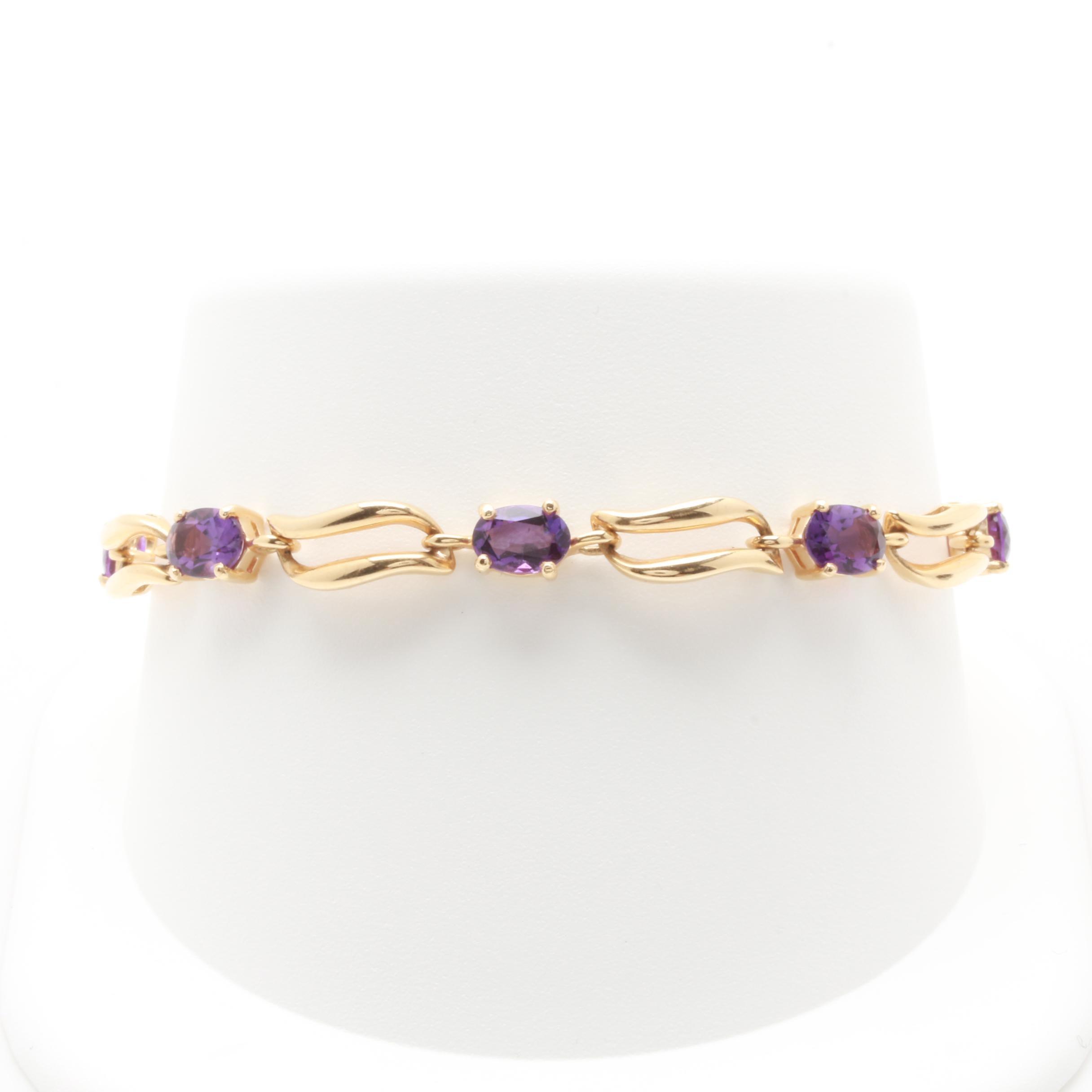 14K Yellow Gold Amethyst Fancy Link Bracelet