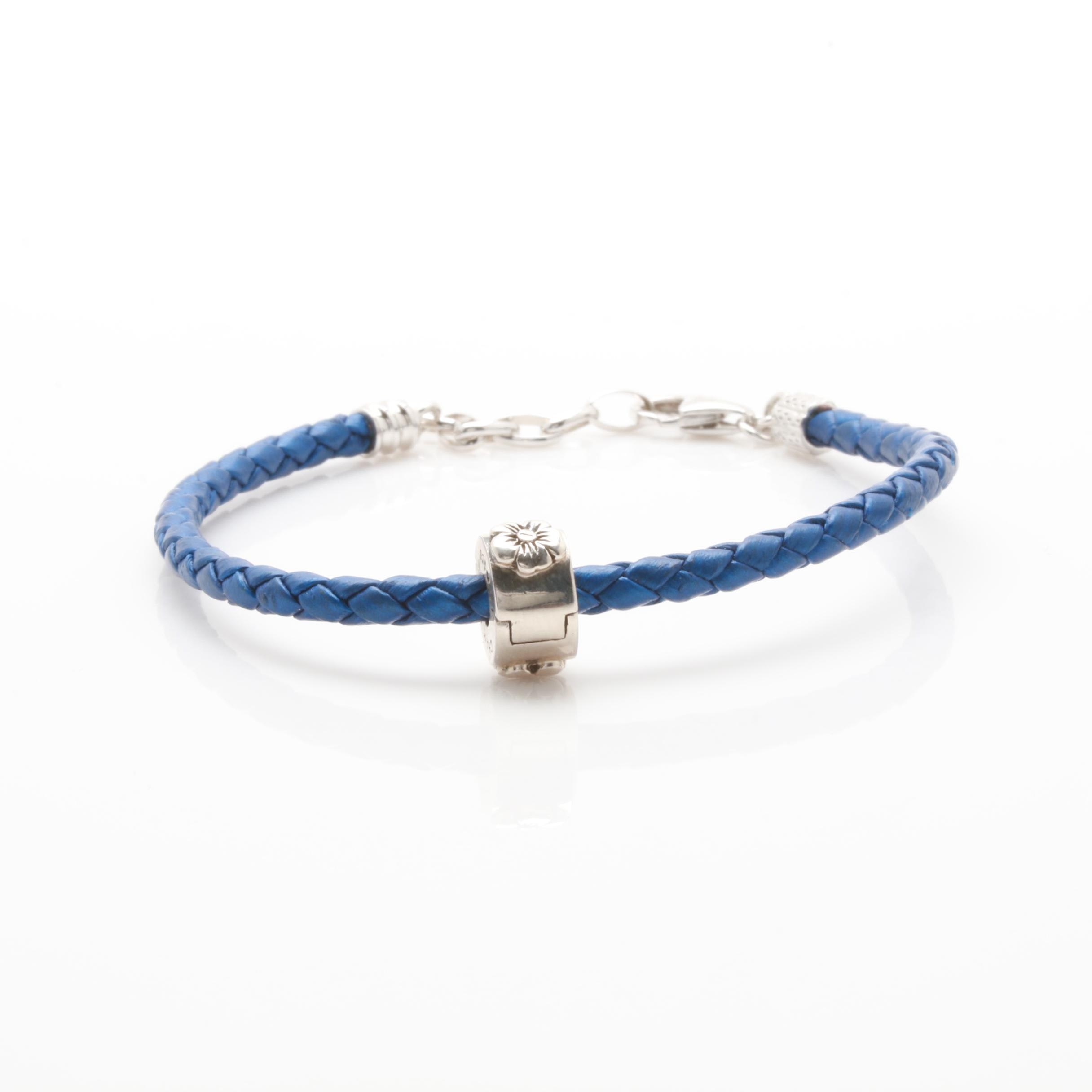 Chamilia Sterling Silver Blue Leather Bracelet with Floral Bead