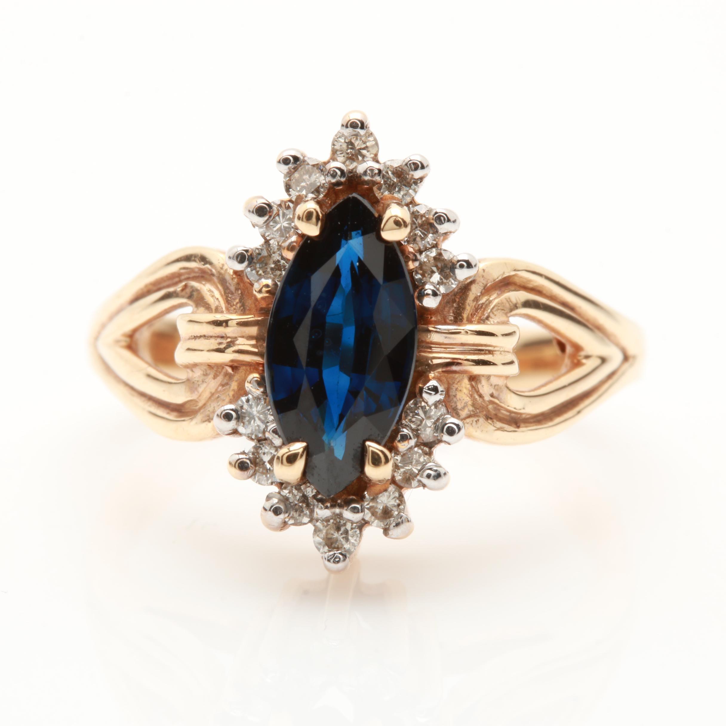 14K Yellow Gold 1.25 CT Sapphire and Diamond Ring