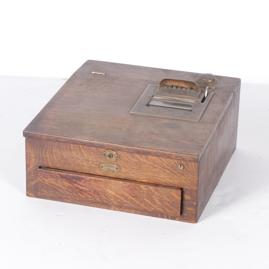 Vintage Wooden Cash Box With Register