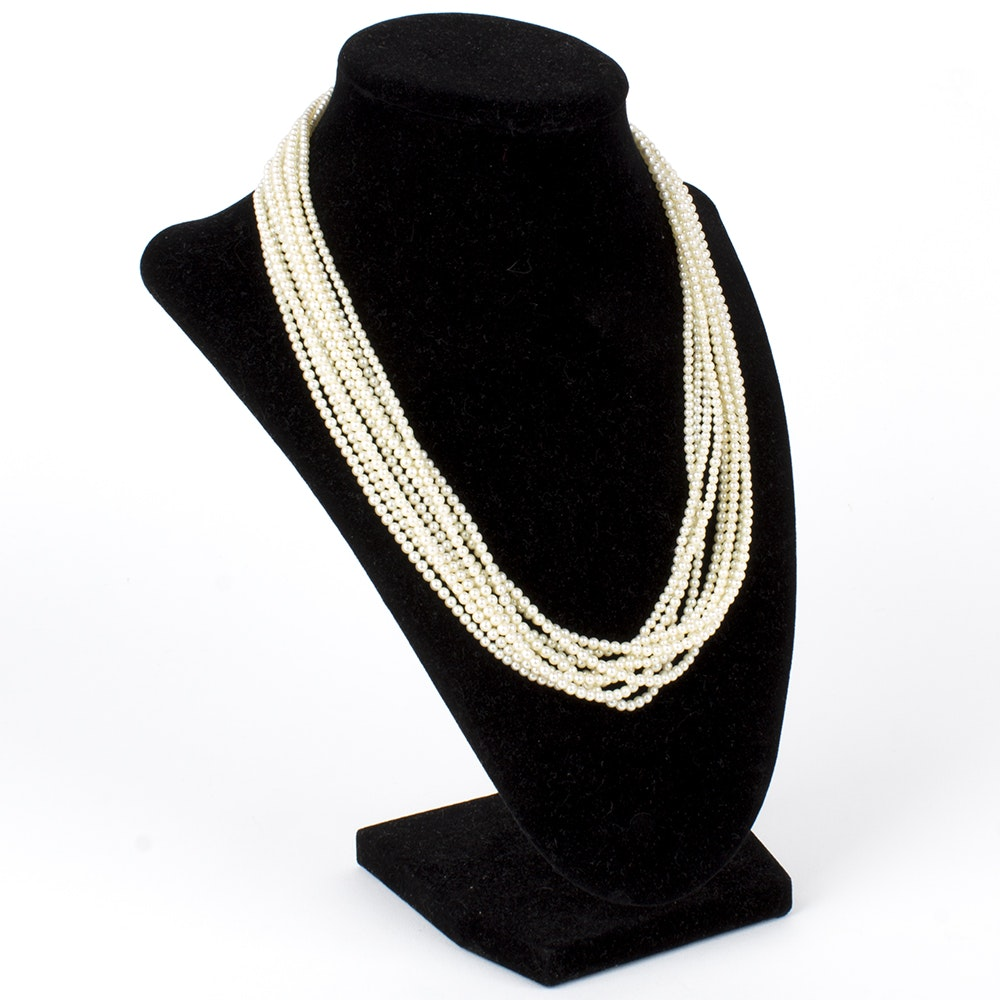 14K Yellow Gold 8 Strand Pearl Necklace With Diamond Clasp