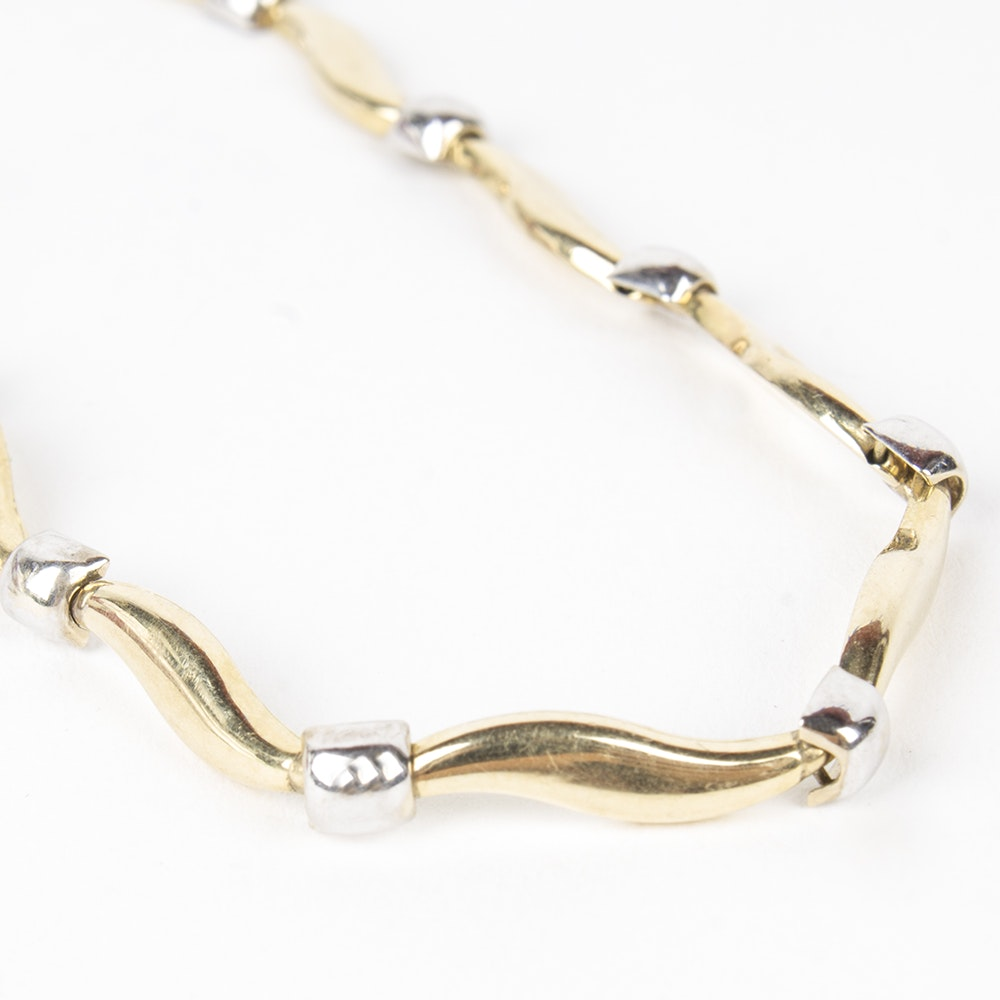 14K Yellow and White Gold Wavy Link Bracelet