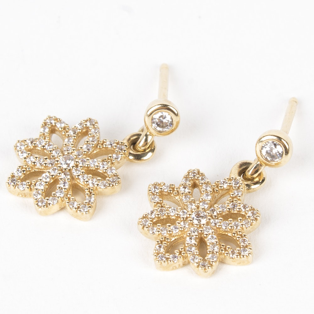 Pandora 14K Yellow Gold Cubic Zirconia Flower Dangle Earrings