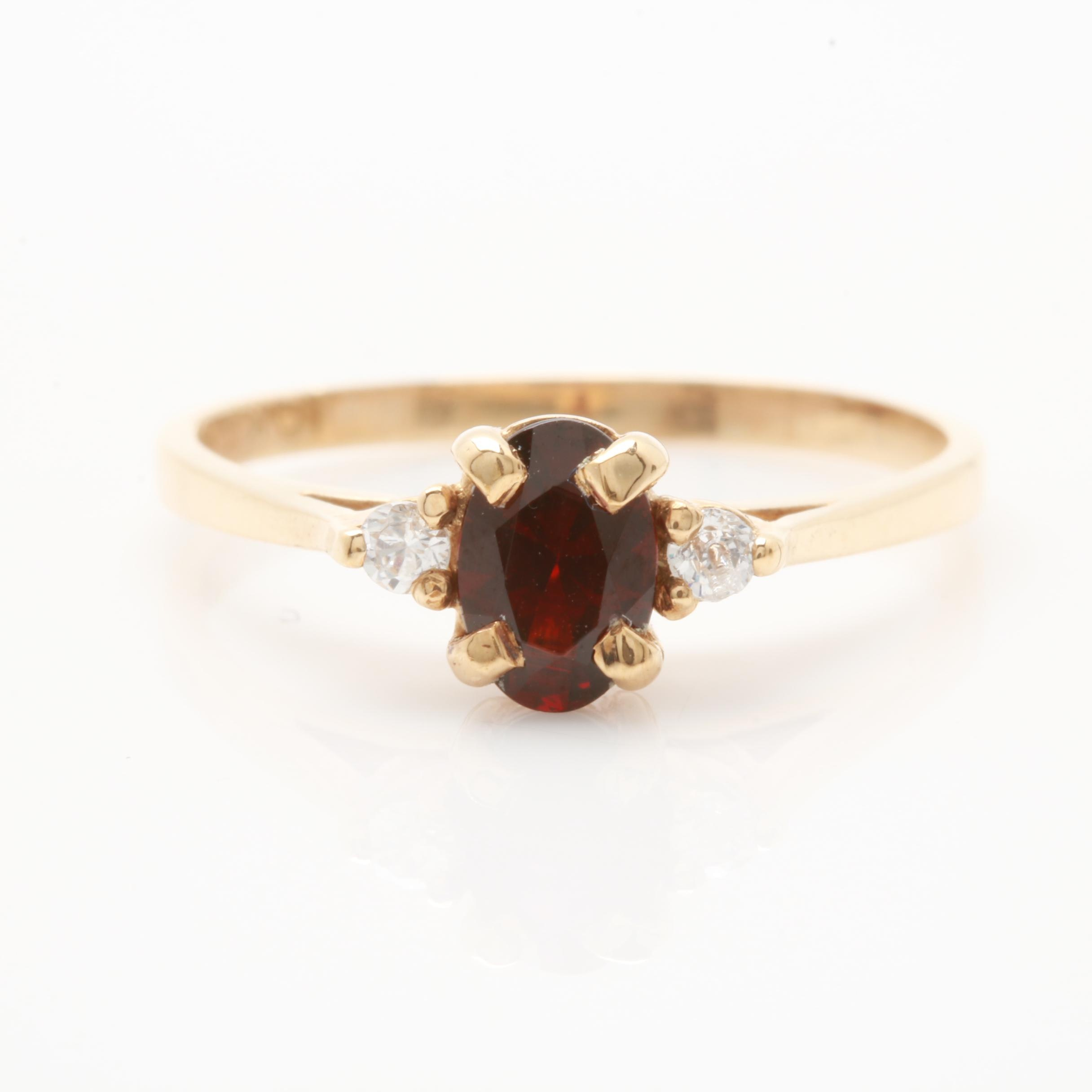 10K Yellow Gold Garnet and Cubic Zirconia Ring