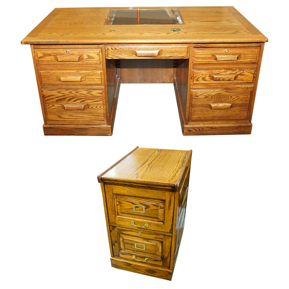 Oak Two Drawer File Cabinet By Winners Only And Office Desk ...