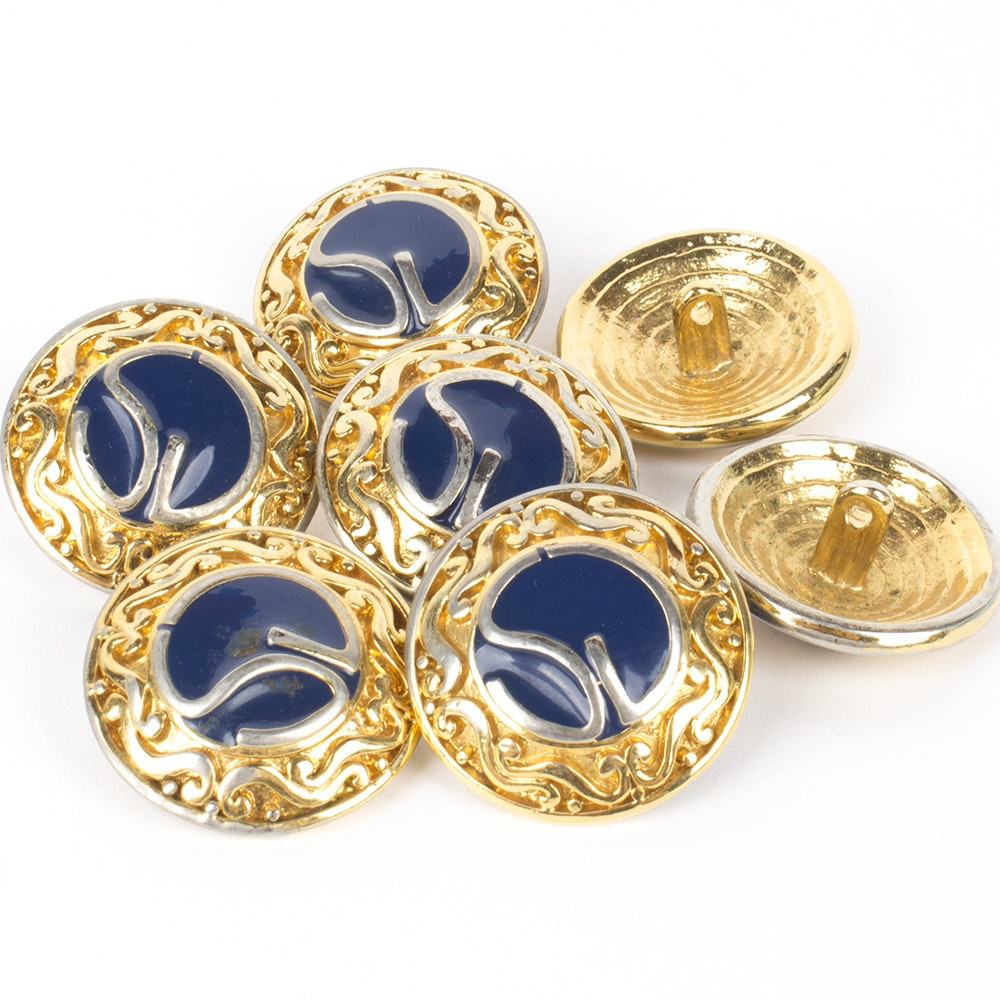 St. John Gold Tone and Blue Enameled Logo Buttons