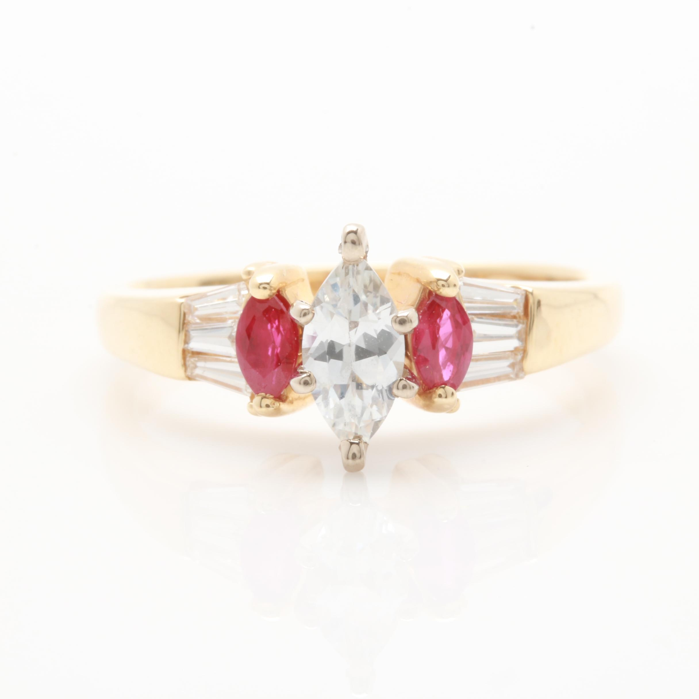 14K Yellow Gold White Sapphire, Ruby, and Diamond Ring