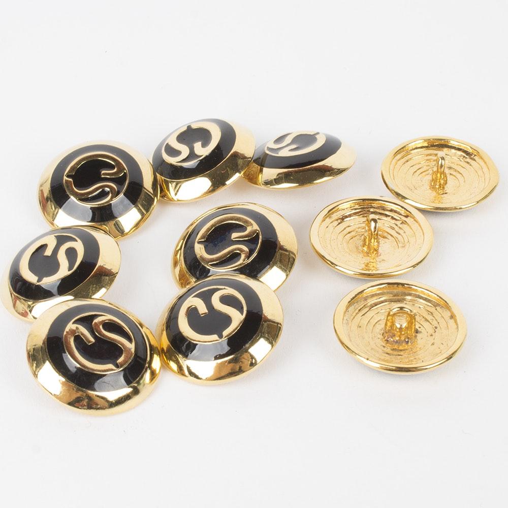 St. John Gold Tone and Black Enamel Logo Buttons