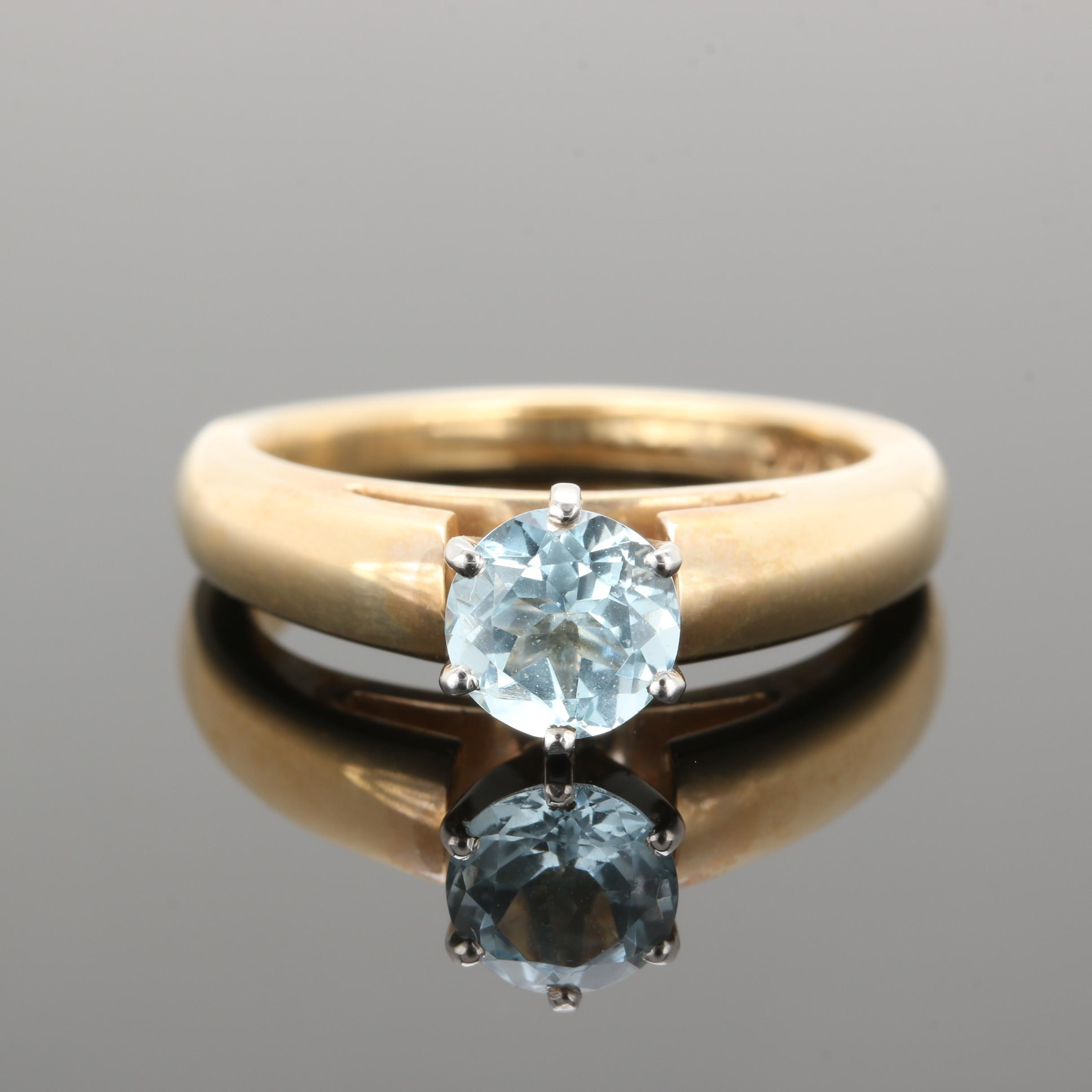 14K Yellow Gold Aquamarine Solitaire Ring