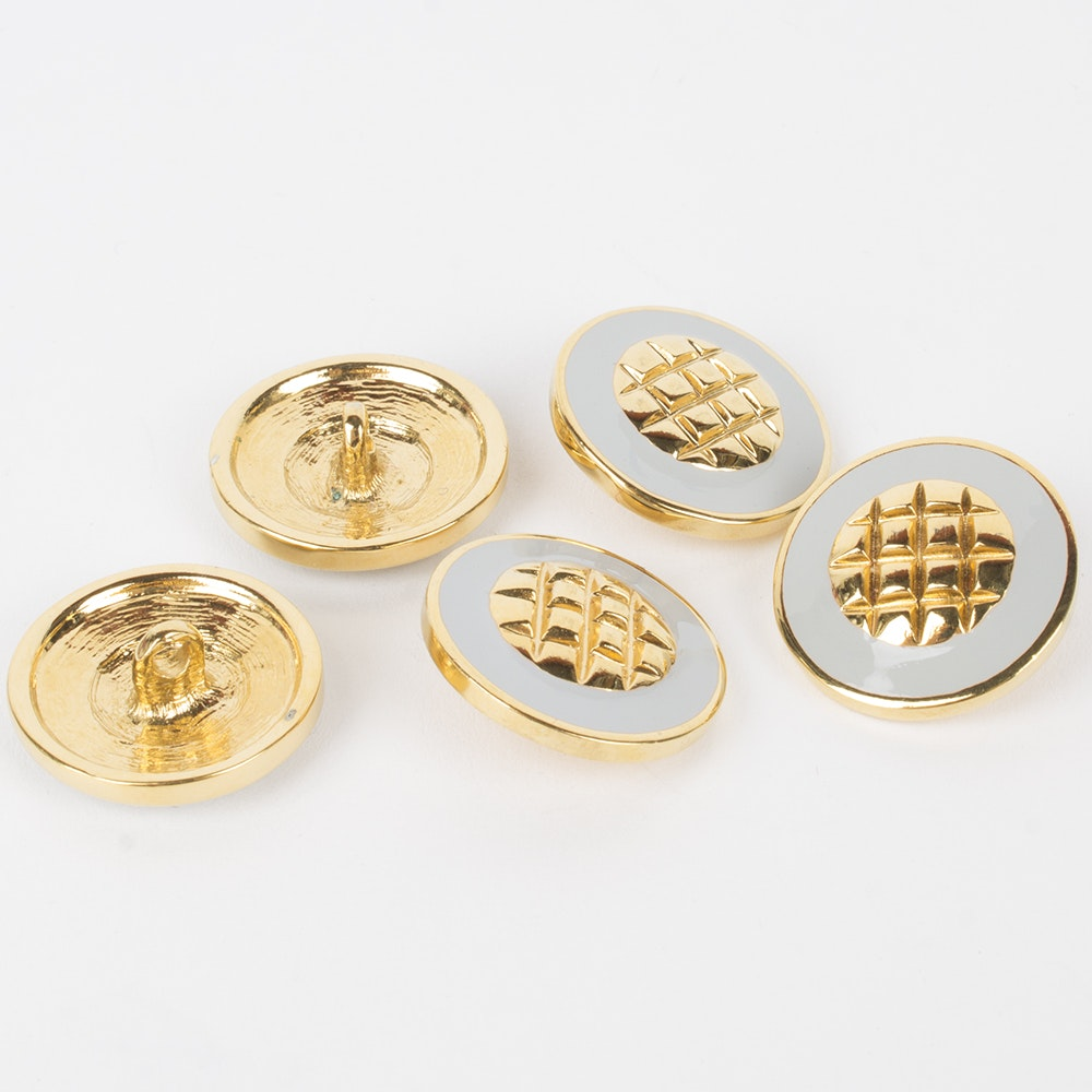 White Enamel and Gold Toned Metal Replacement Shank Buttons