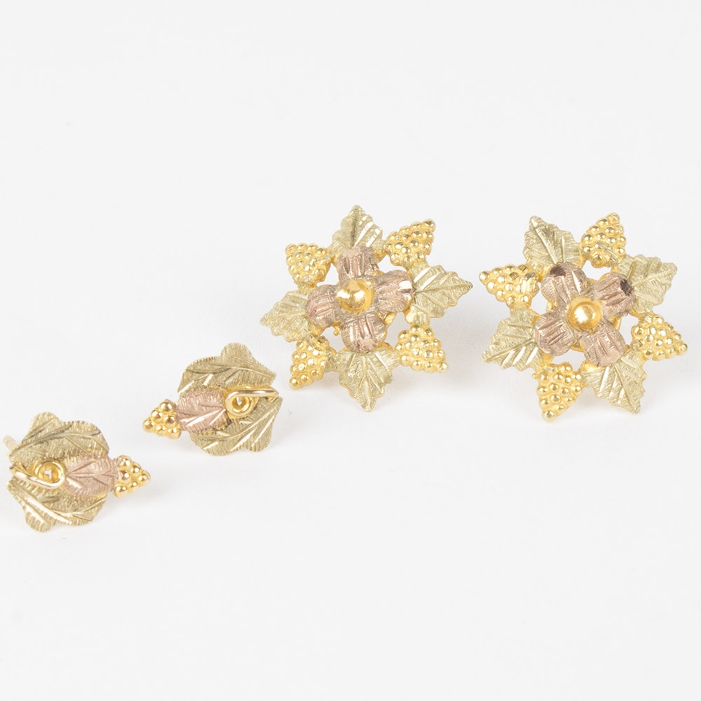 """10K Yellow and Rose Gold Floral """"Black Hills Gold"""" Earrings"""