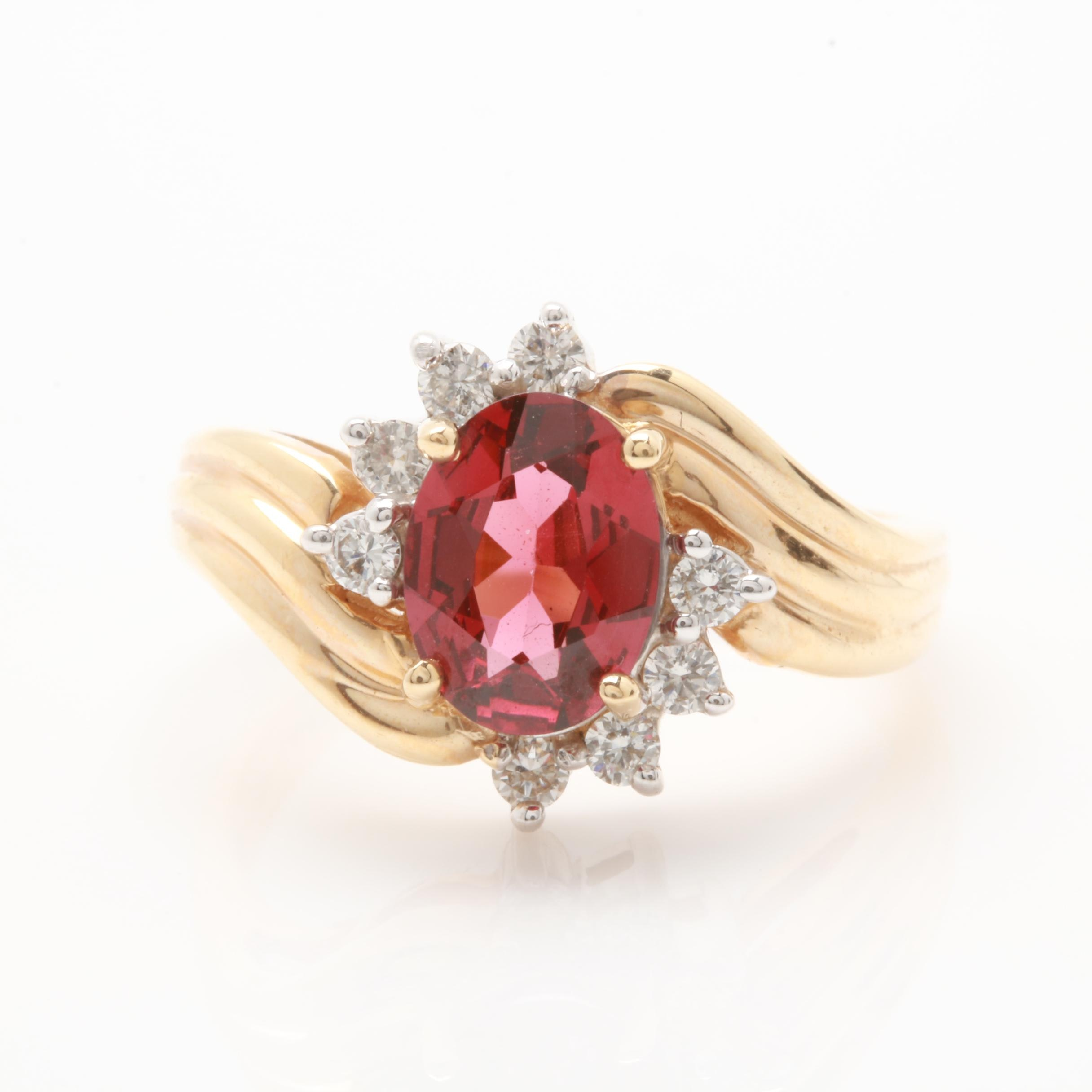 14K Yellow Gold Rhodolite Garnet and Diamond Bypass Ring