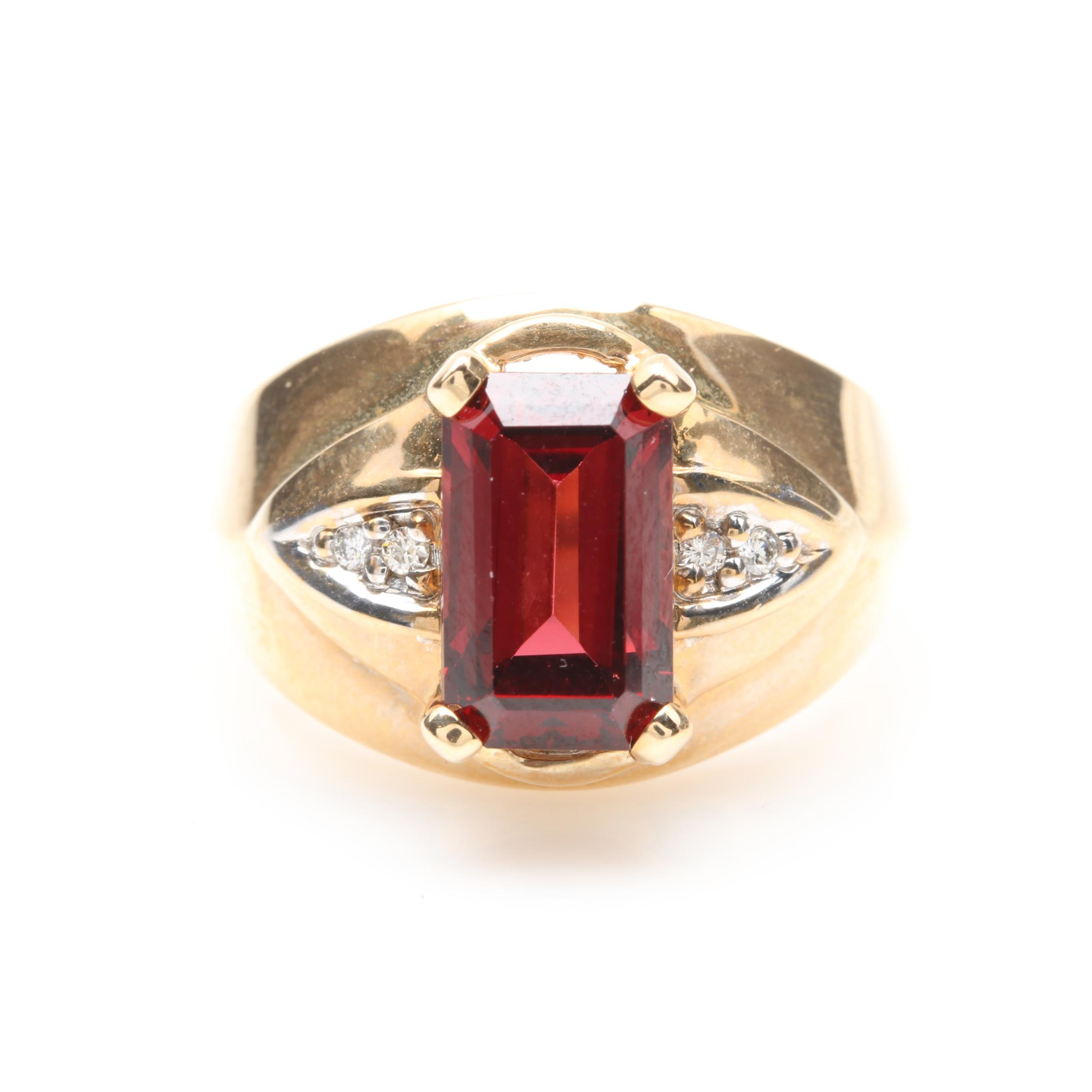14K Yellow Gold 4.25 CT Rhodolite Garnet and Diamond Ring