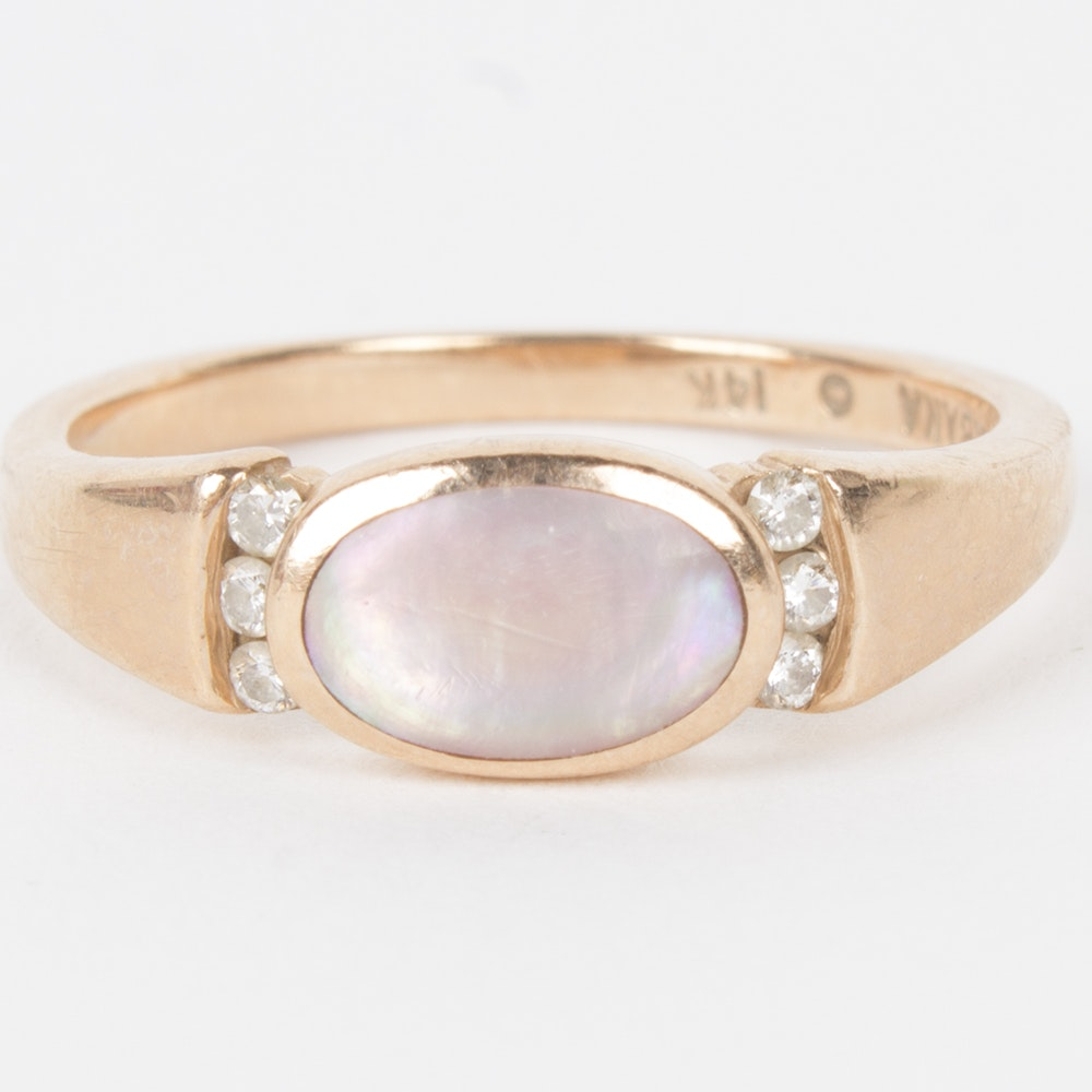 Kabana 14K Rose Gold Mother of Pearl and Diamond Ring