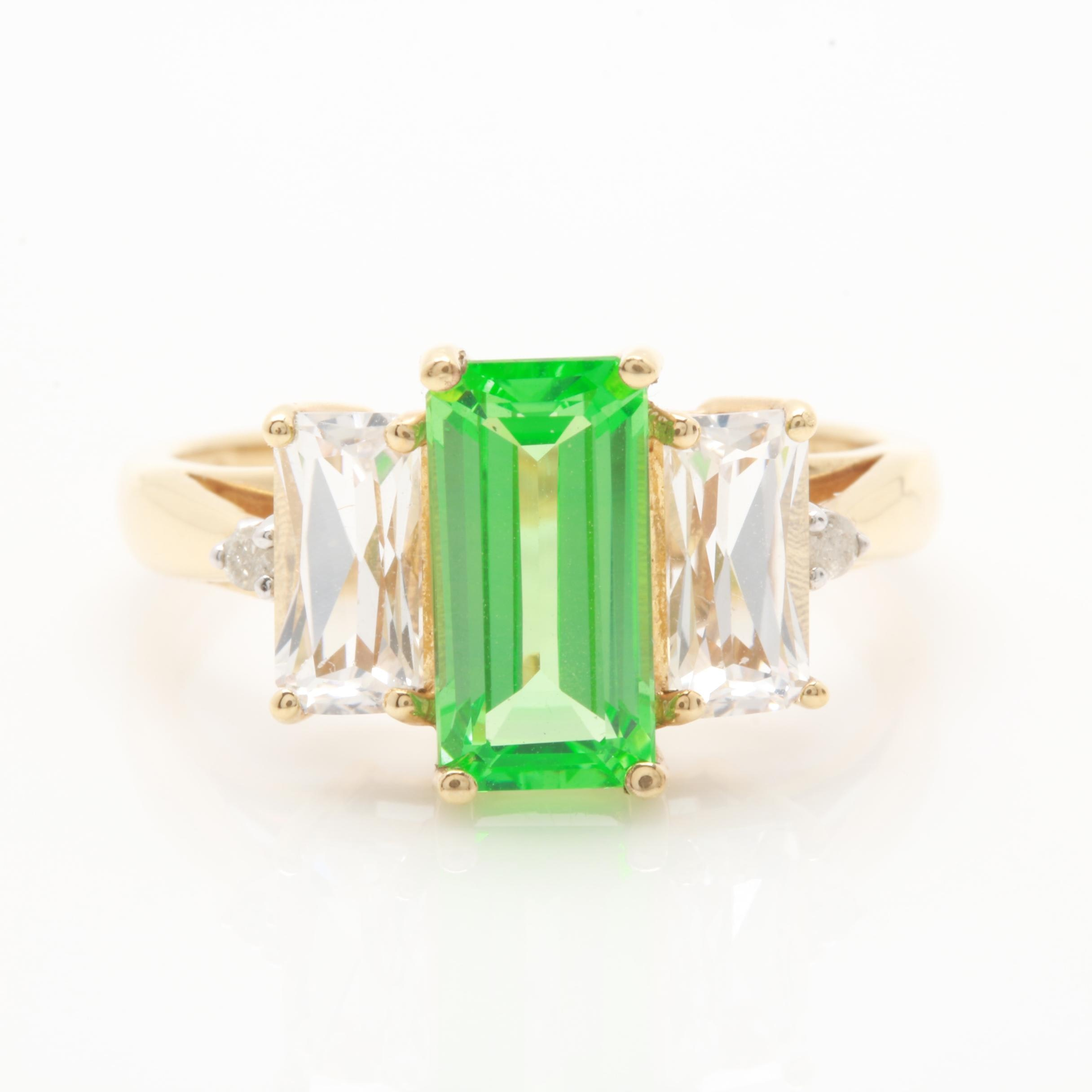 10K Yellow Gold Synthetic Green and White Sapphire Ring With Diamond Accents