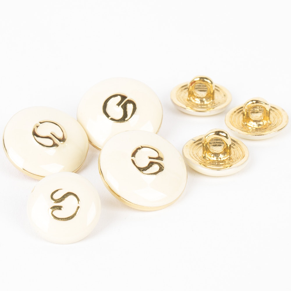 St. John Gold Tone and White Enamel Logo Buttons
