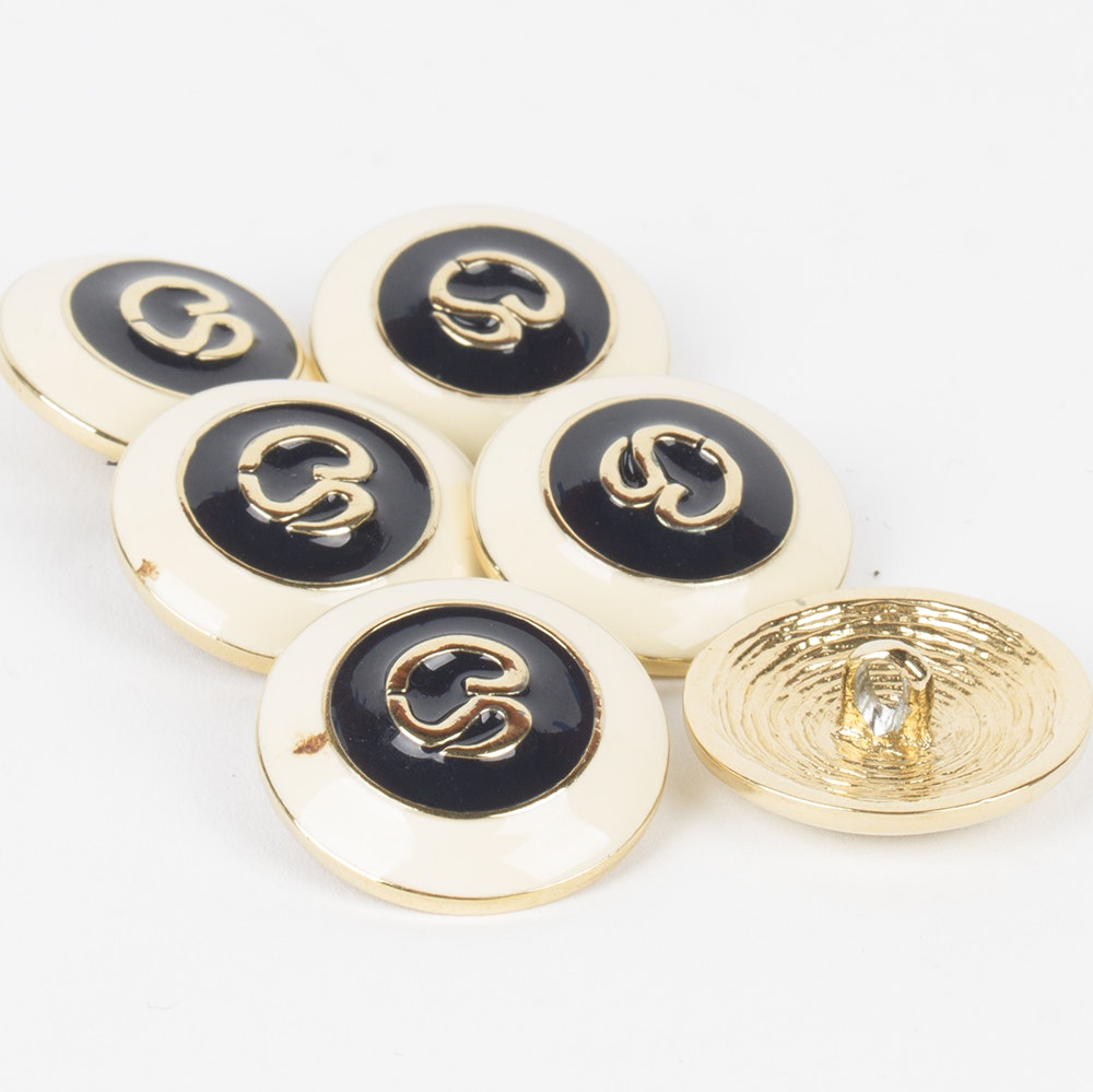 St. John Gold Toned Metal and Black Enamel Replacement Logo Buttons