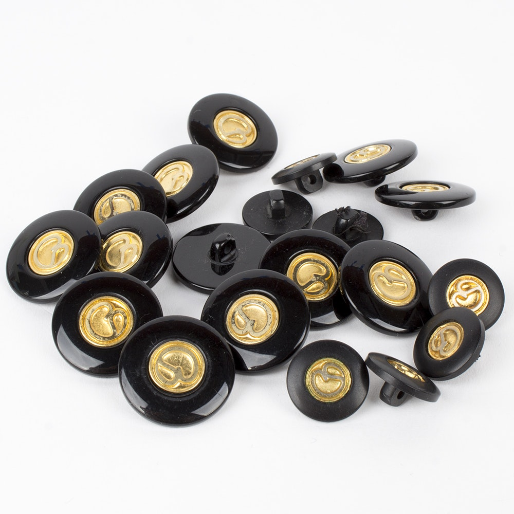 St. John Black Acrylic and Gold Toned Metal Replacement Logo Buttons