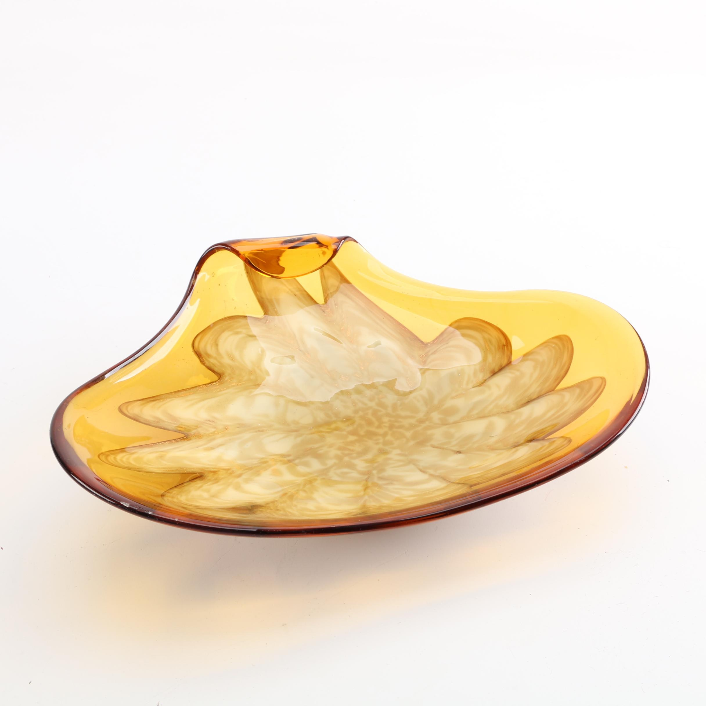 Amber and Aventurine Blown Glass Bowl