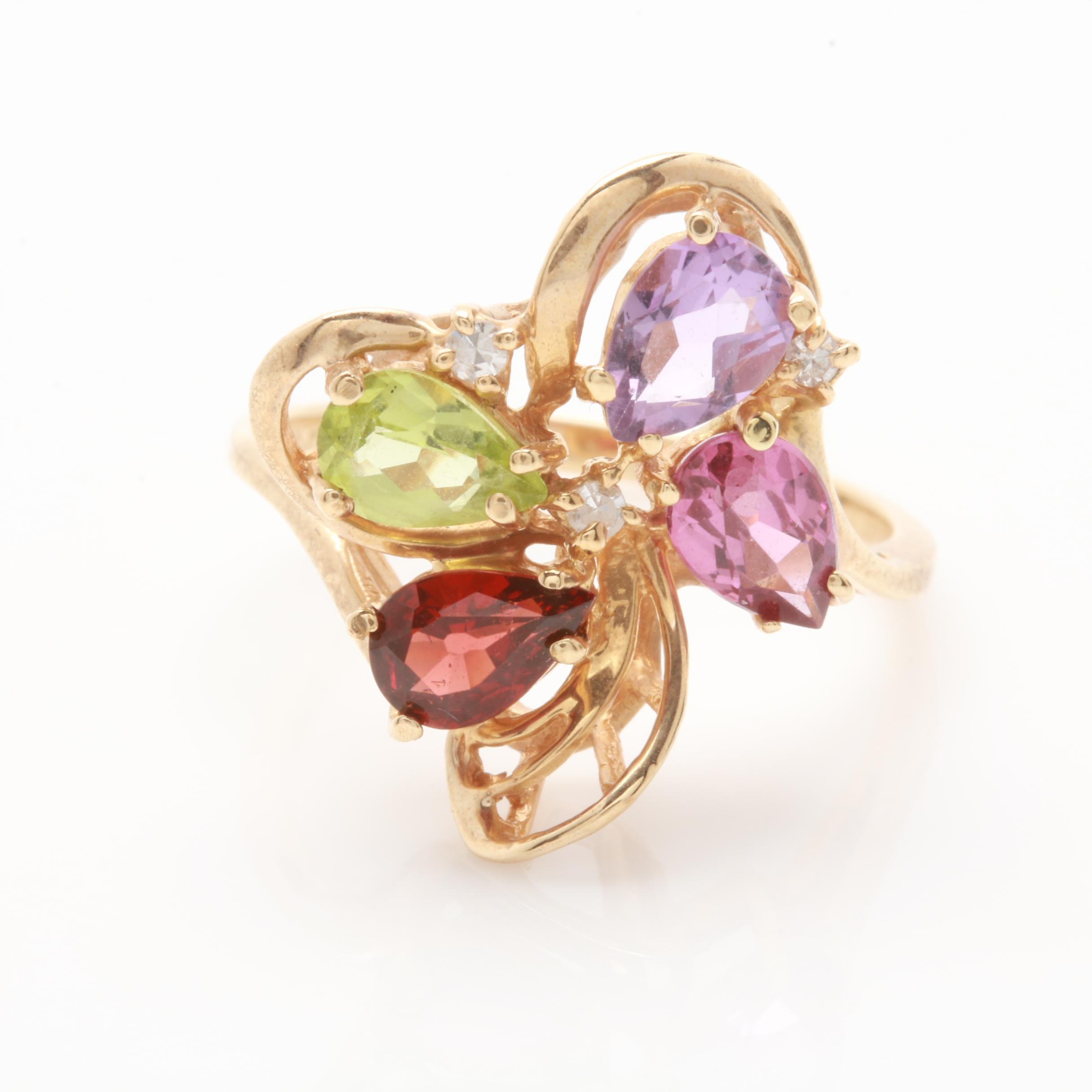 10K Yellow Gold Amethyst, Diamond and Gemstone Ring