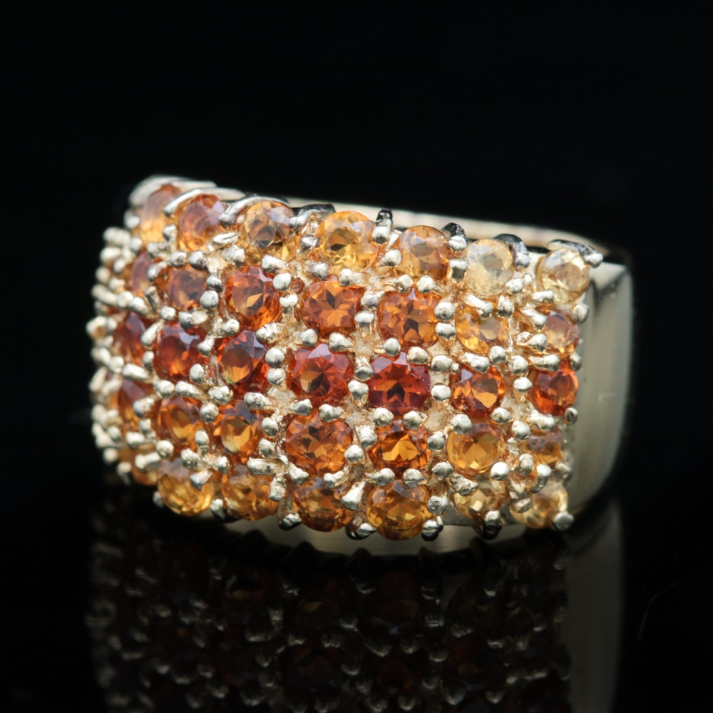 Gold Wash on Sterling Silver and Multi-Tone Citrine Ring