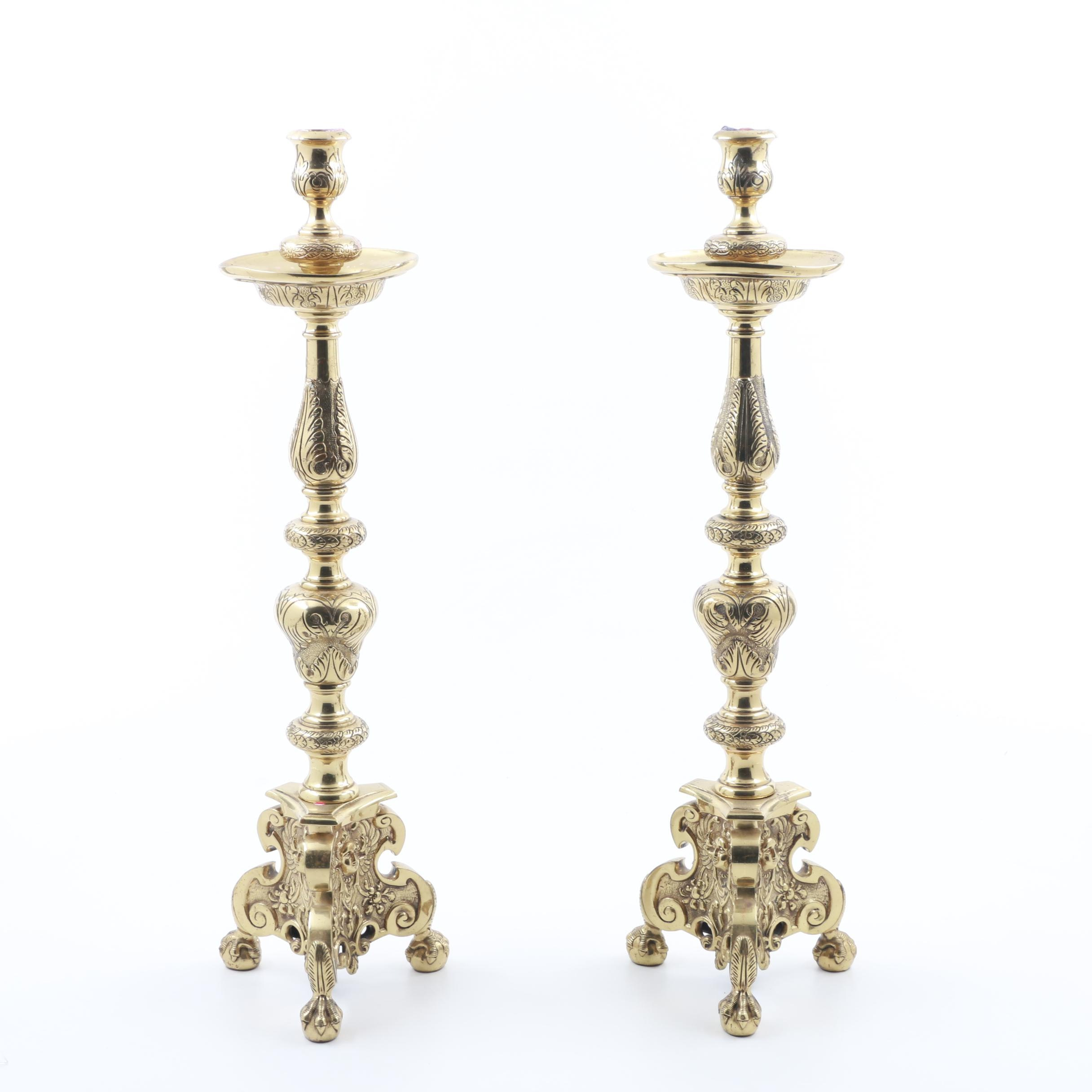 Large English Cast Brass Candle Holders