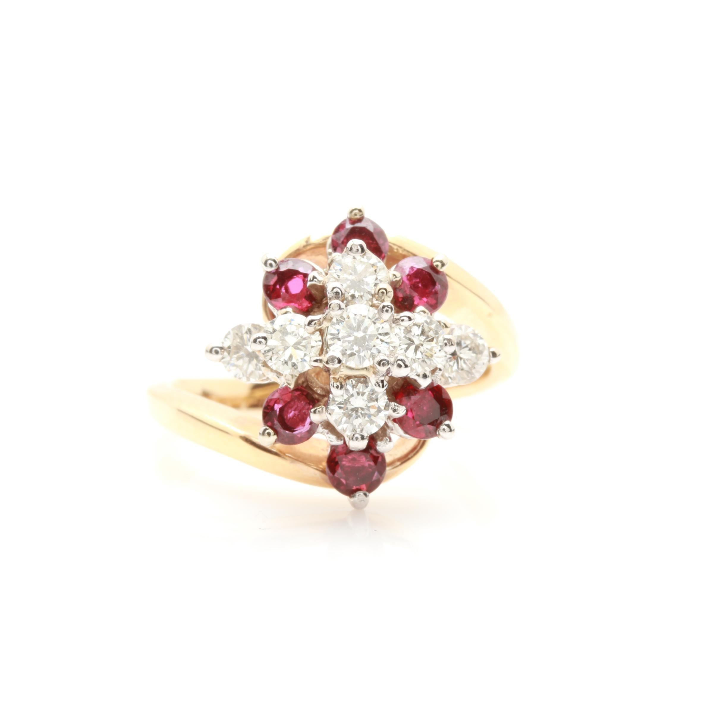 14K Yellow Gold Ruby and Diamond Bypass Ring