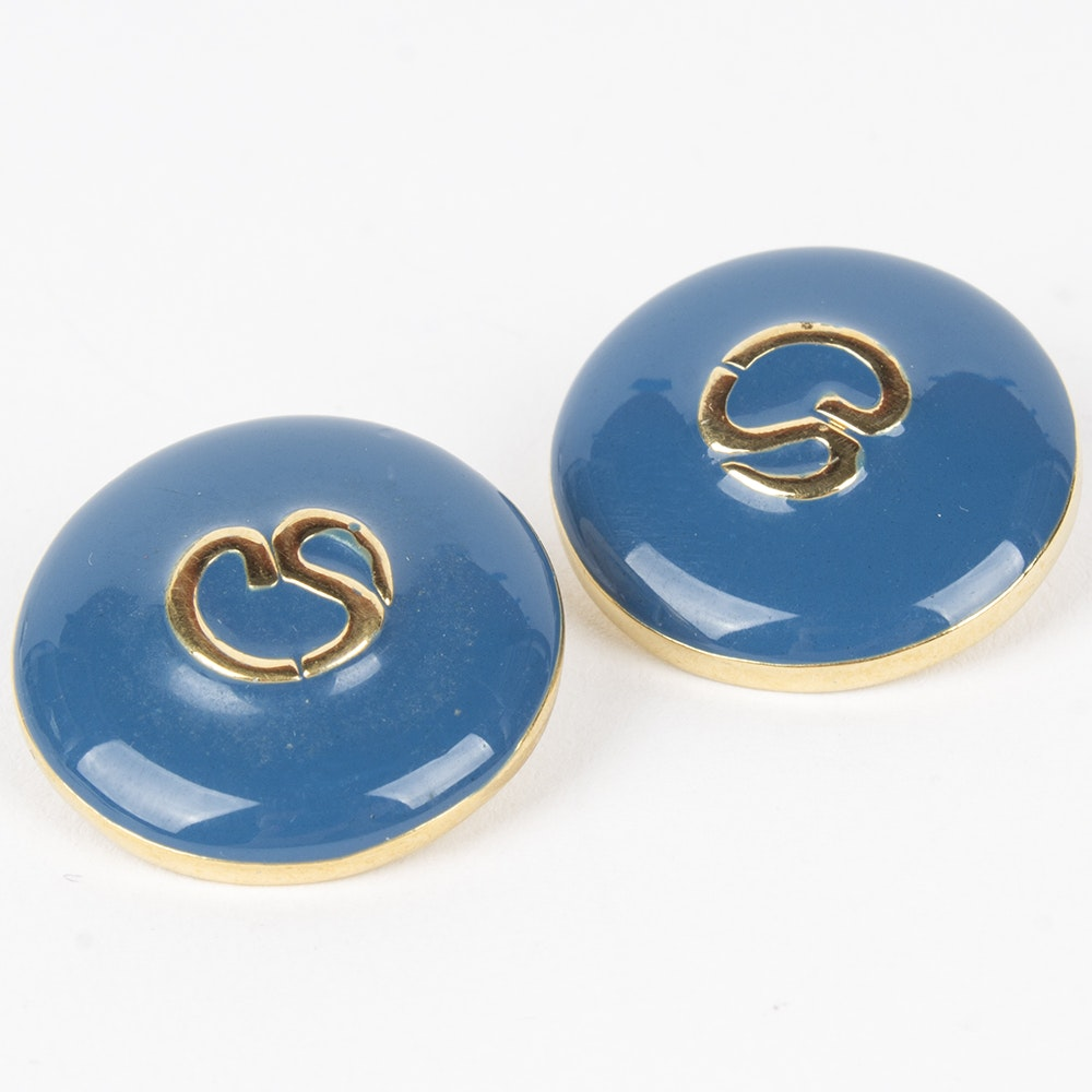 St. John Blue Enamel and Gold Tone Metal Replacement Logo Buttons