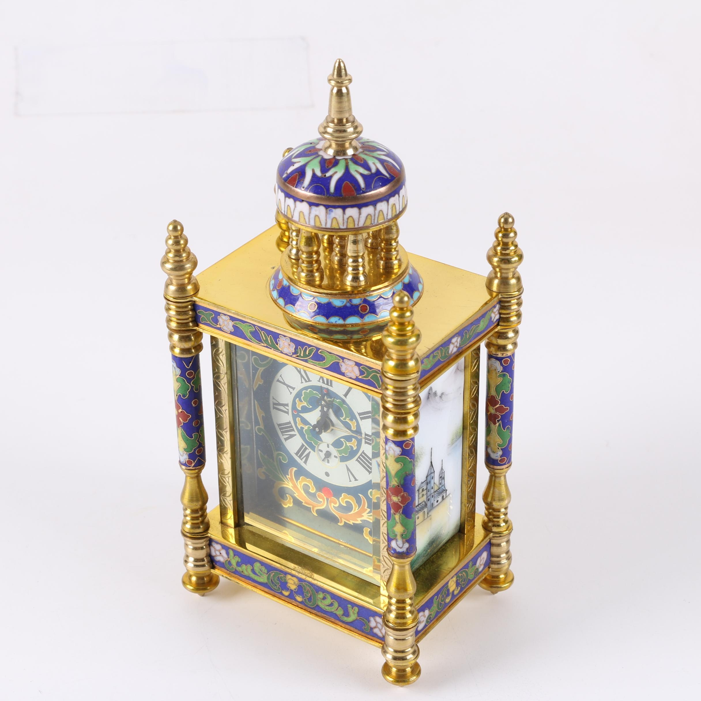 Chinese French Empire Style Cloisonne and Brass Wind Up Shelf Clock