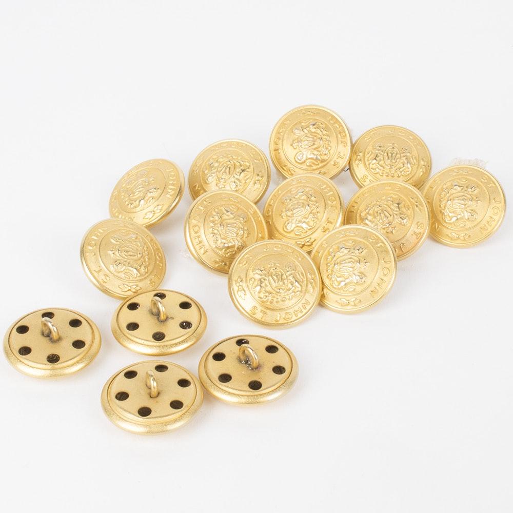 St. John Gold Tone Emblem Buttons