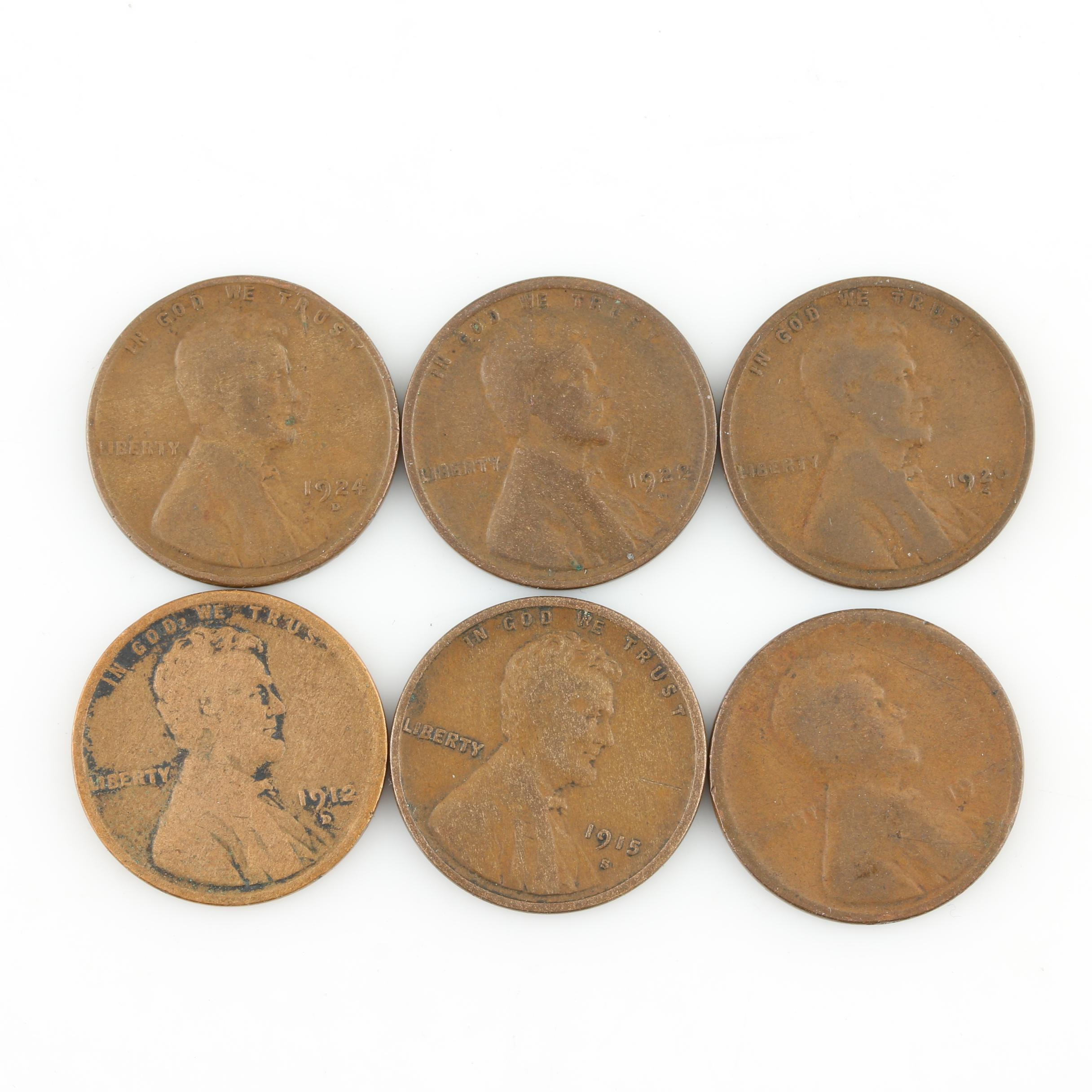 Six Better Date Lincoln Wheat Cents