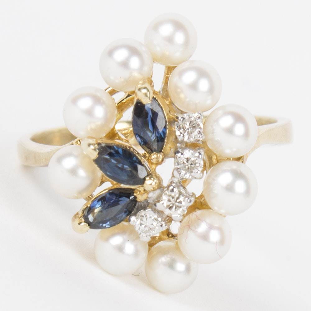 14K Yellow Gold Diamond, Sapphire, and Pearl Ring
