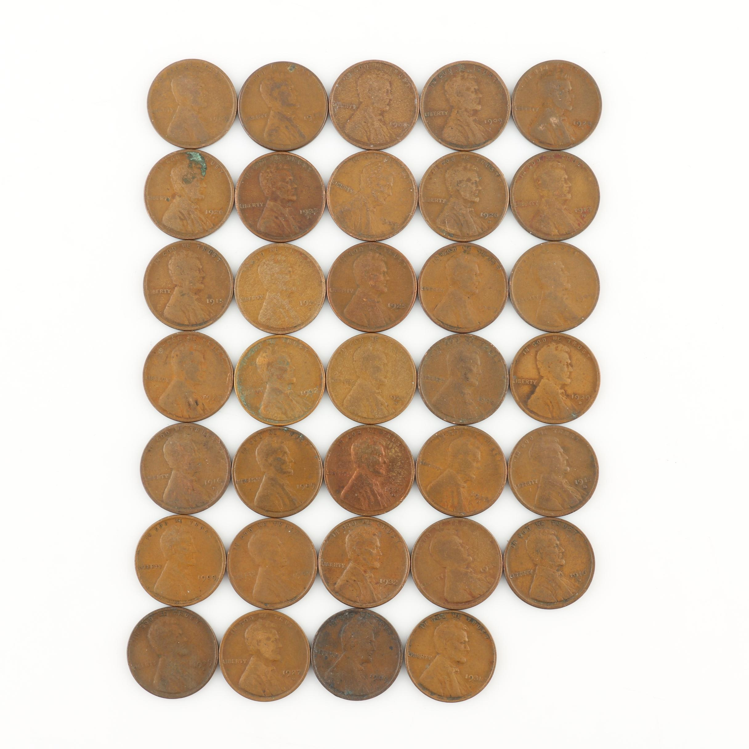 Group of Thirty-Four Better Date Lincoln Wheat Cents