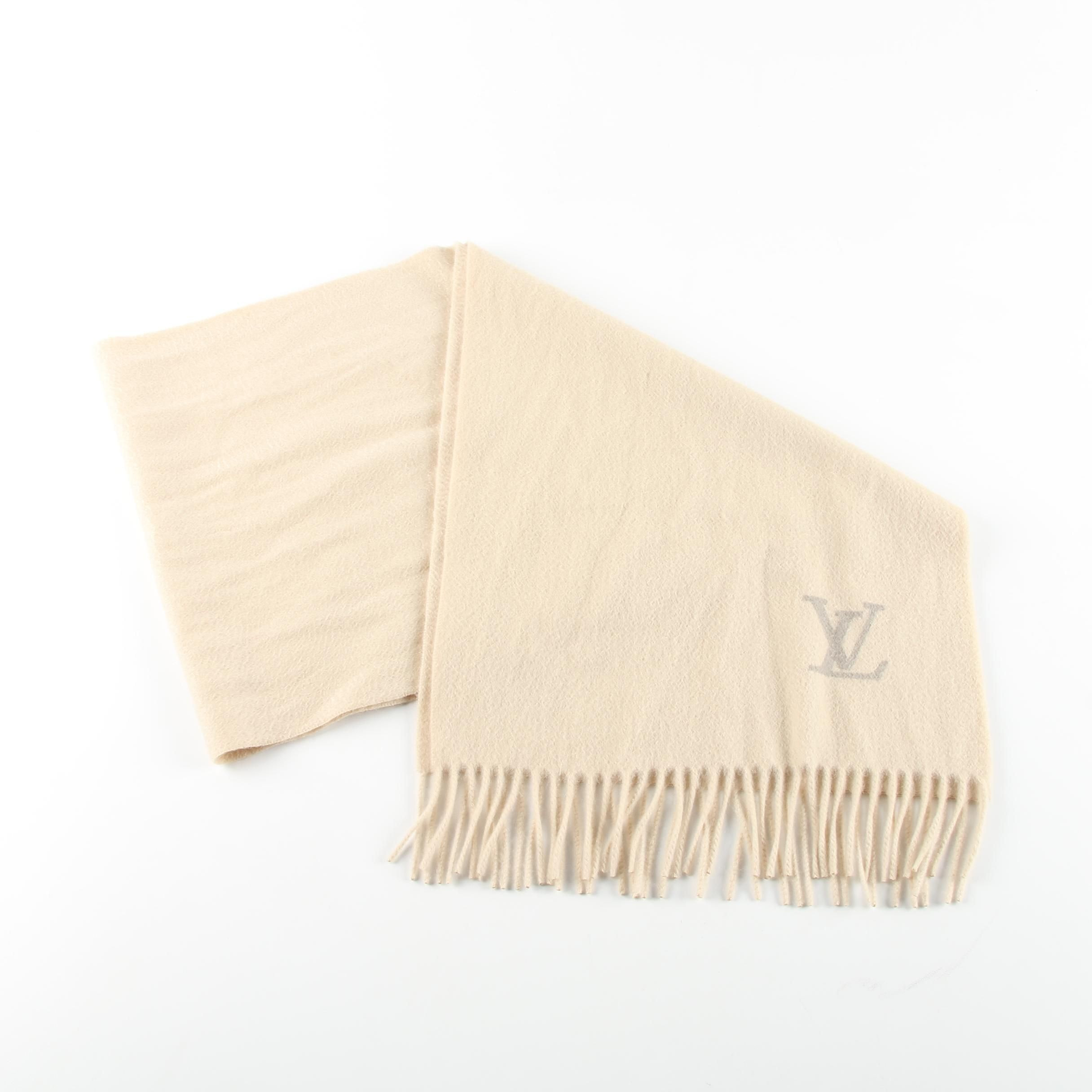 Louis Vuitton of Paris Cream Cashmere Scarf